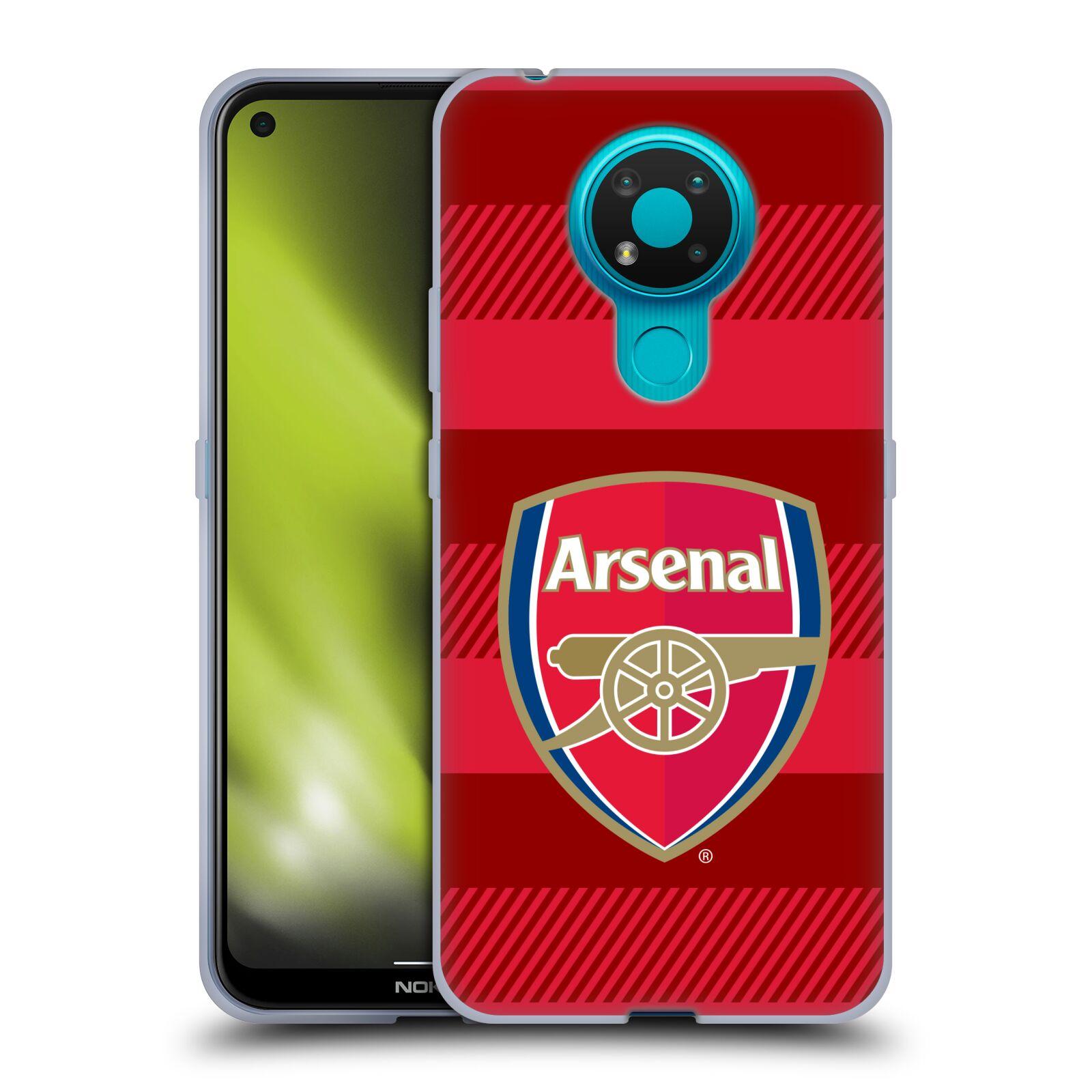 Silikonové pouzdro na mobil Nokia 3.4 - Head Case - Arsenal FC - Logo s pruhy