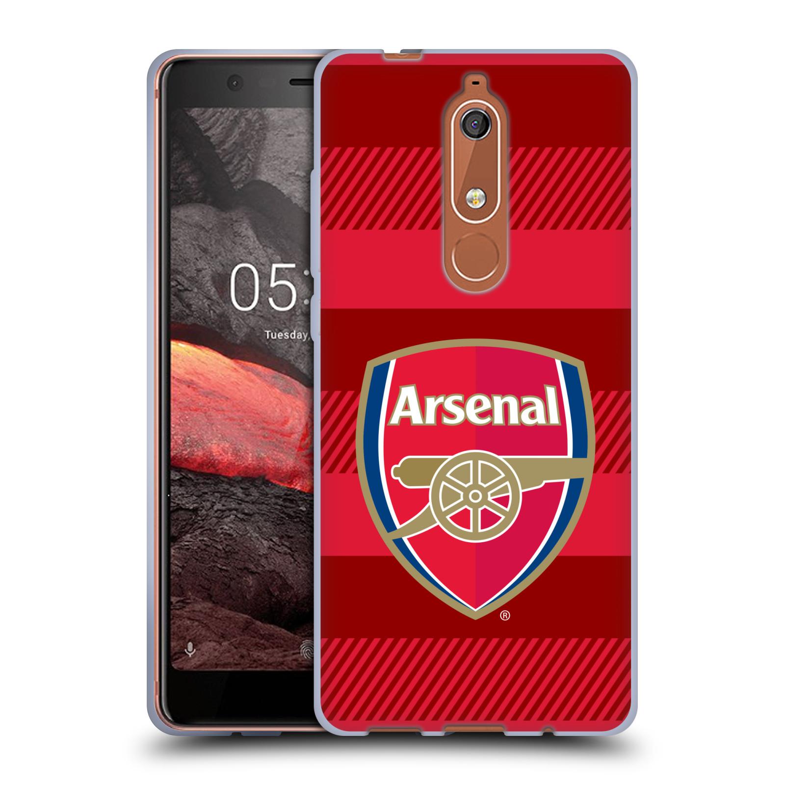 Silikonové pouzdro na mobil Nokia 5.1 - Head Case - Arsenal FC - Logo s pruhy
