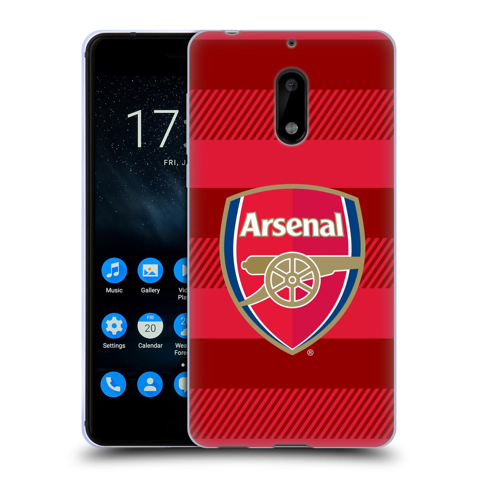 Silikonové pouzdro na mobil Nokia 6 - Head Case - Arsenal FC - Logo s pruhy