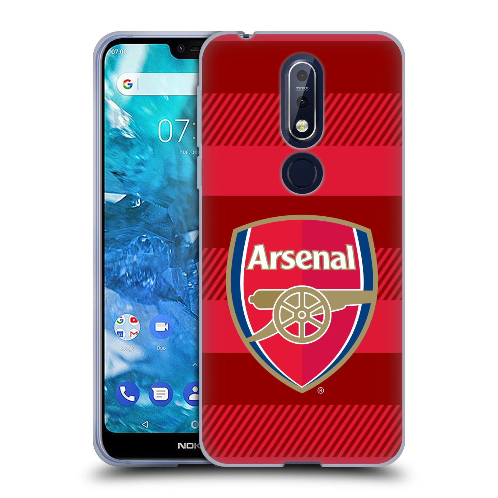 Silikonové pouzdro na mobil Nokia 7.1 - Head Case - Arsenal FC - Logo s pruhy