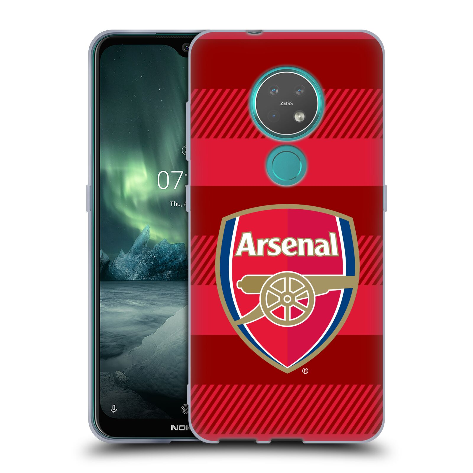 Silikonové pouzdro na mobil Nokia 7.2 - Head Case - Arsenal FC - Logo s pruhy