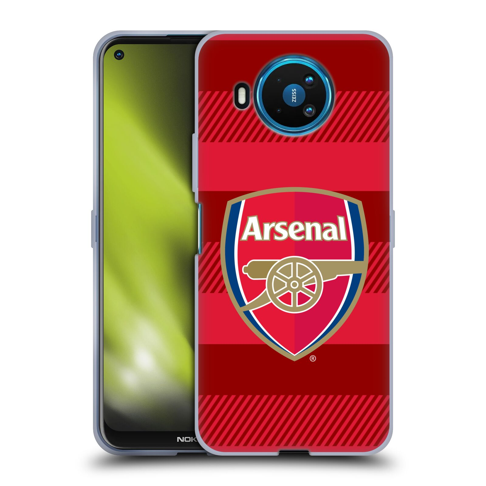 Silikonové pouzdro na mobil Nokia 8.3 5G - Head Case - Arsenal FC - Logo s pruhy