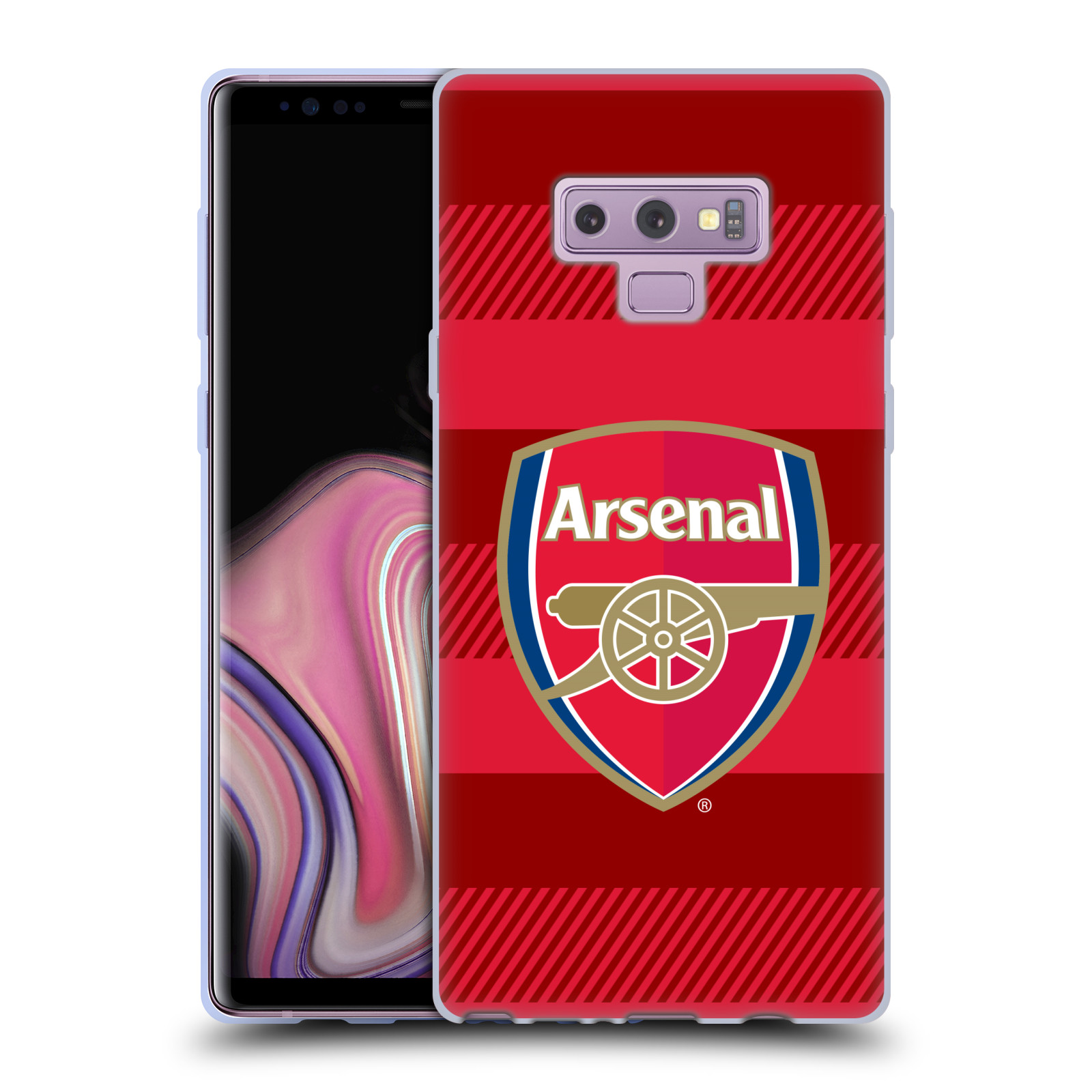 Silikonové pouzdro na mobil Samsung Galaxy Note 9 - Head Case - Arsenal FC - Logo s pruhy