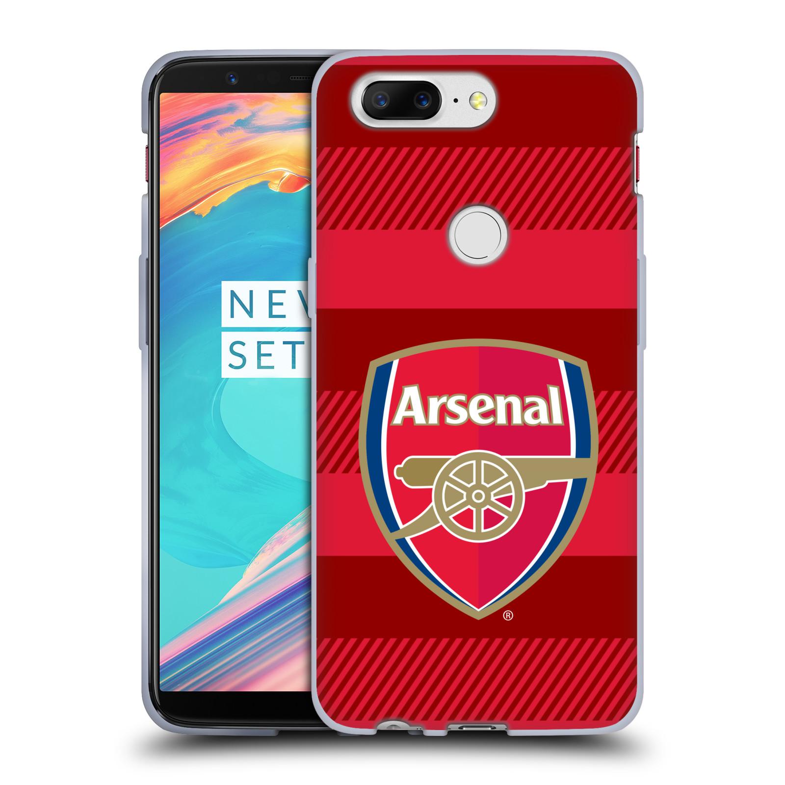 Silikonové pouzdro na mobil OnePlus 5T - Head Case - Arsenal FC - Logo s pruhy