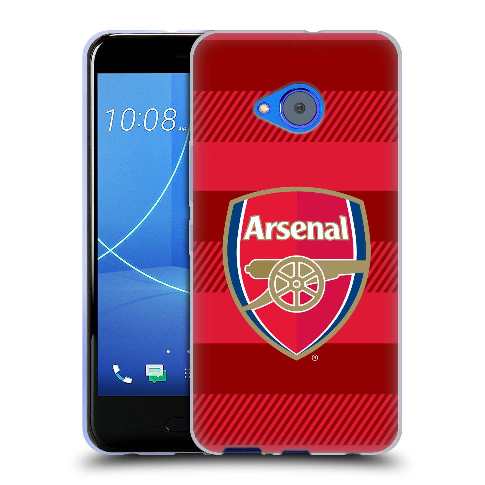 Silikonové pouzdro na mobil HTC U11 Life - Head Case - Arsenal FC - Logo s pruhy
