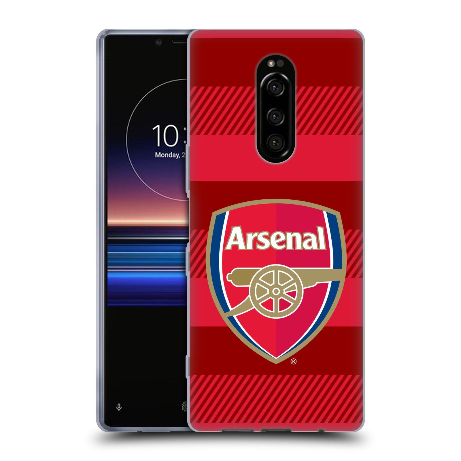 Silikonové pouzdro na mobil Sony Xperia 1 - Head Case - Arsenal FC - Logo s pruhy