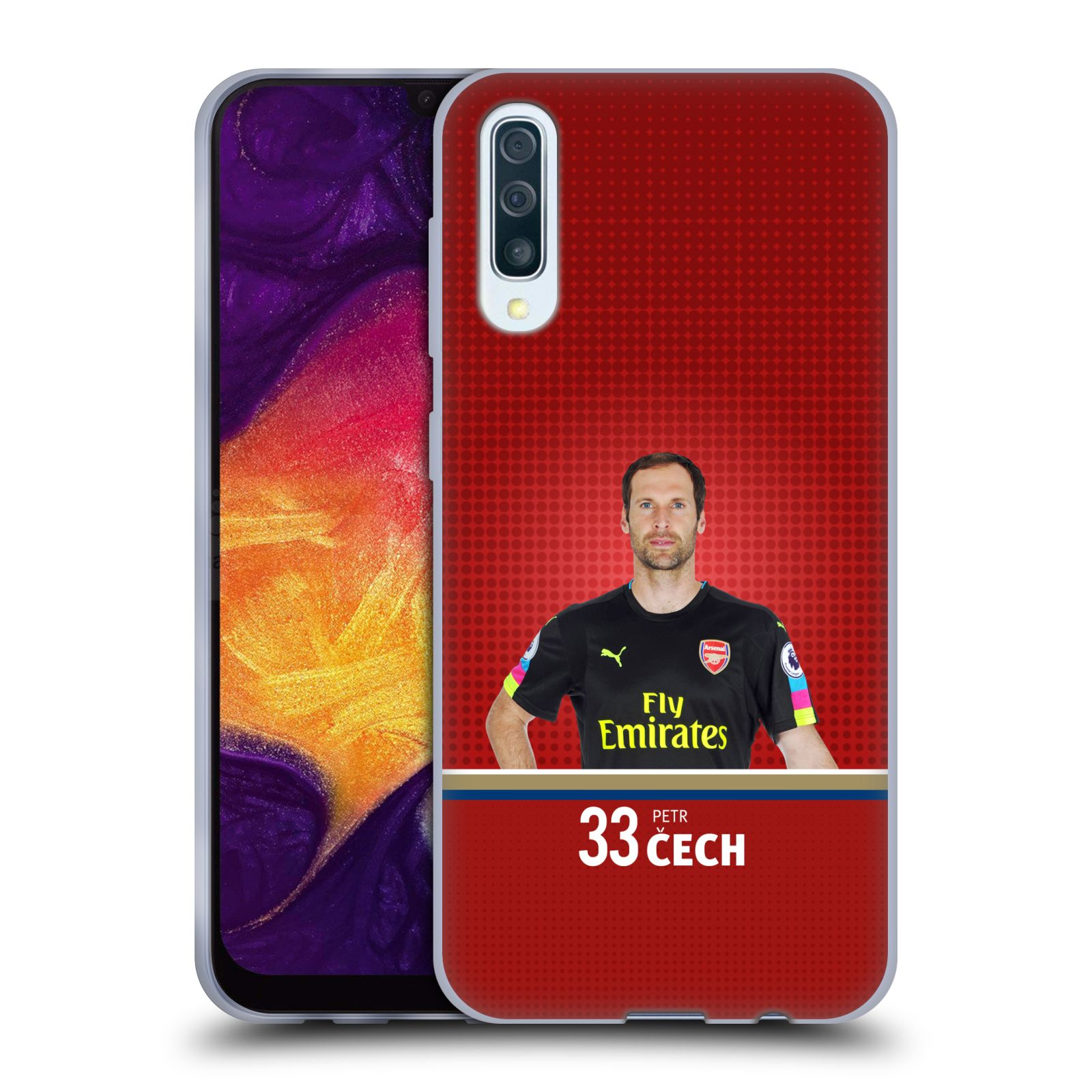 Silikonové pouzdro na mobil Samsung Galaxy A50 / A30s - Head Case - Arsenal FC - Petr Čech