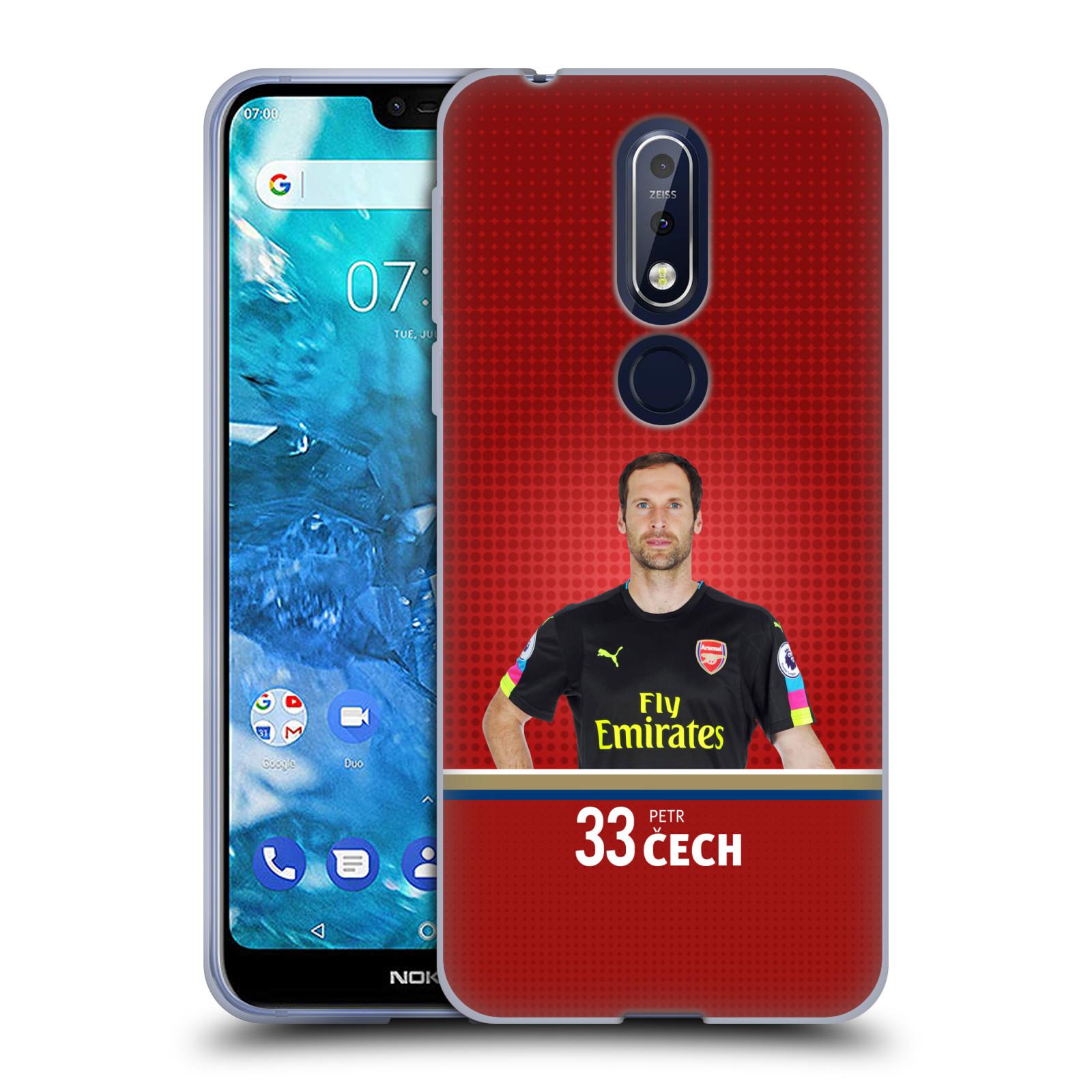 Silikonové pouzdro na mobil Nokia 7.1 - Head Case - Arsenal FC - Petr Čech