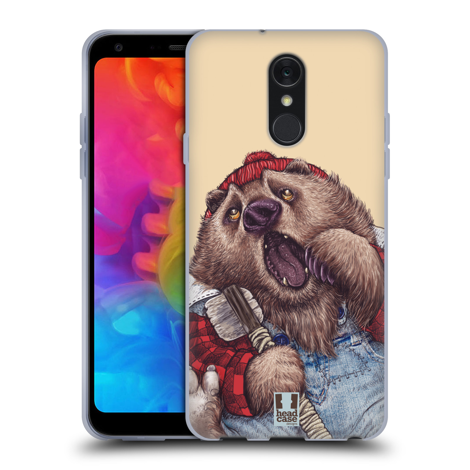Silikonové pouzdro na mobil LG Q7 - Head Case - ANIMPLA MEDVĚD