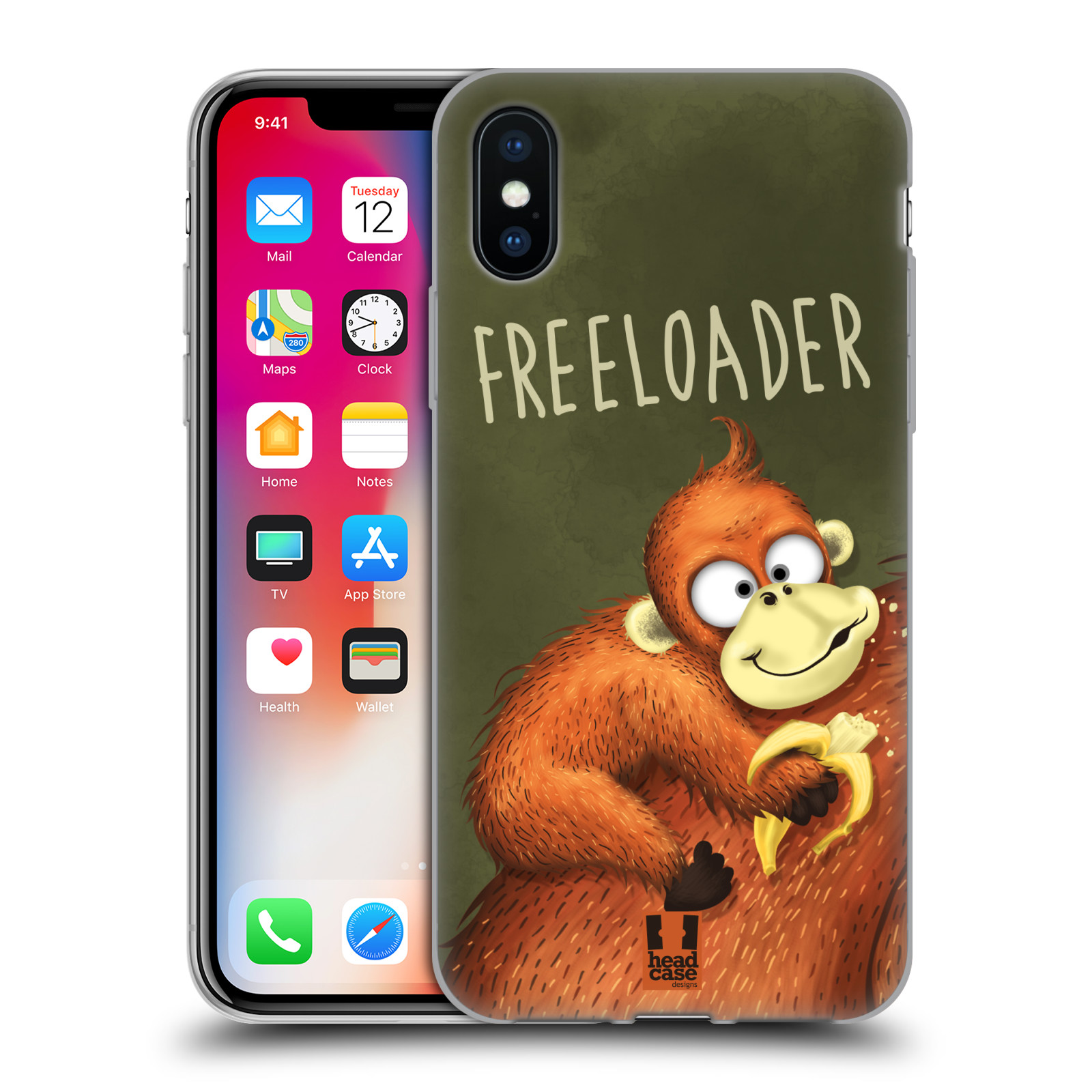 Silikonové pouzdro na mobil Apple iPhone XS - Head Case - Opičák Freeloader