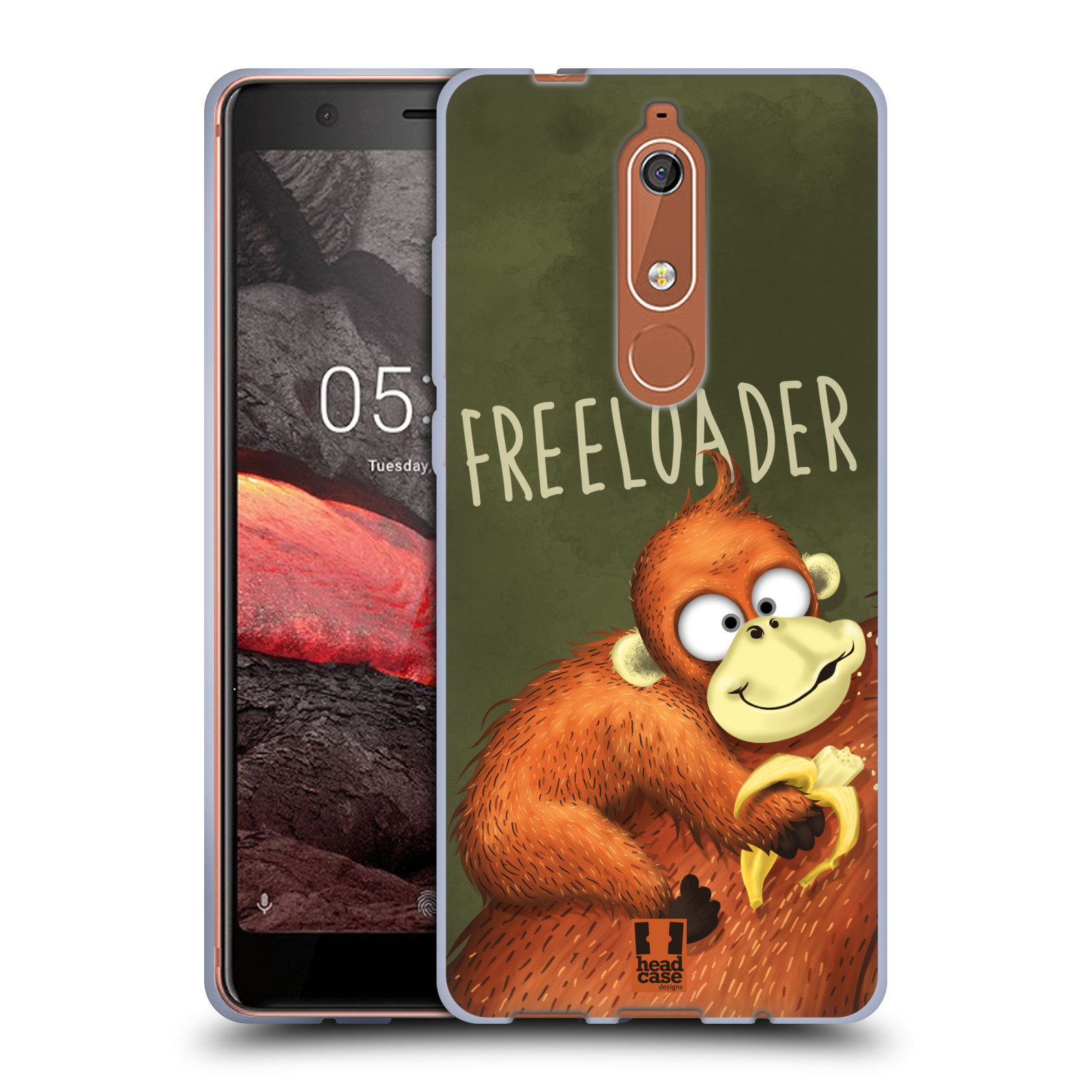 Silikonové pouzdro na mobil Nokia 5.1 - Head Case - Opičák Freeloader