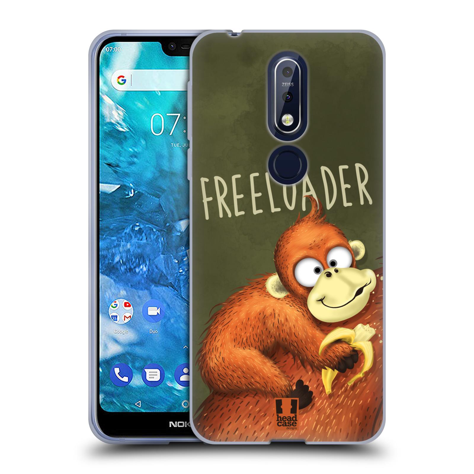 Silikonové pouzdro na mobil Nokia 7.1 - Head Case - Opičák Freeloader