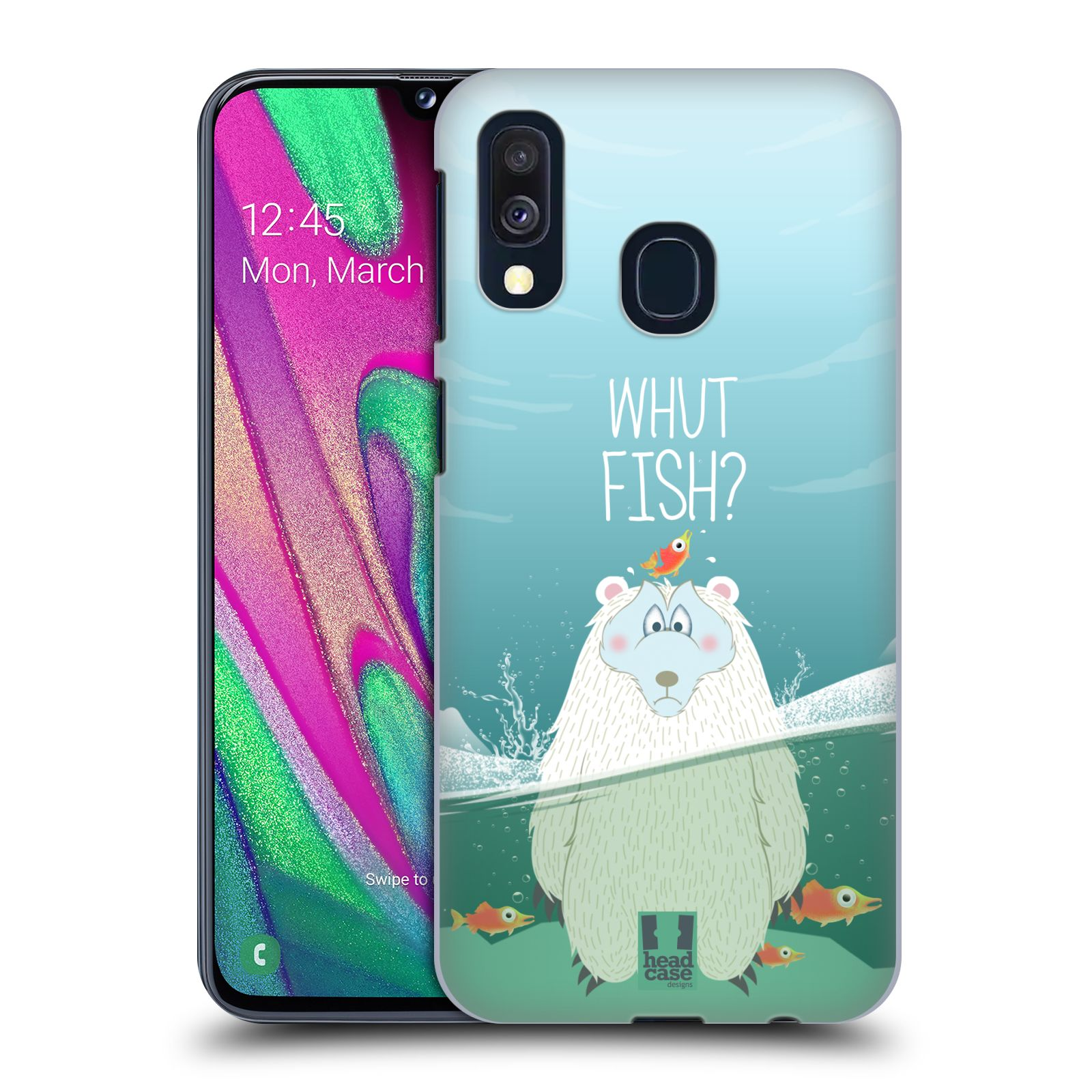 Plastové pouzdro na mobil Samsung Galaxy A40 - Head Case - Medvěd Whut Fish?