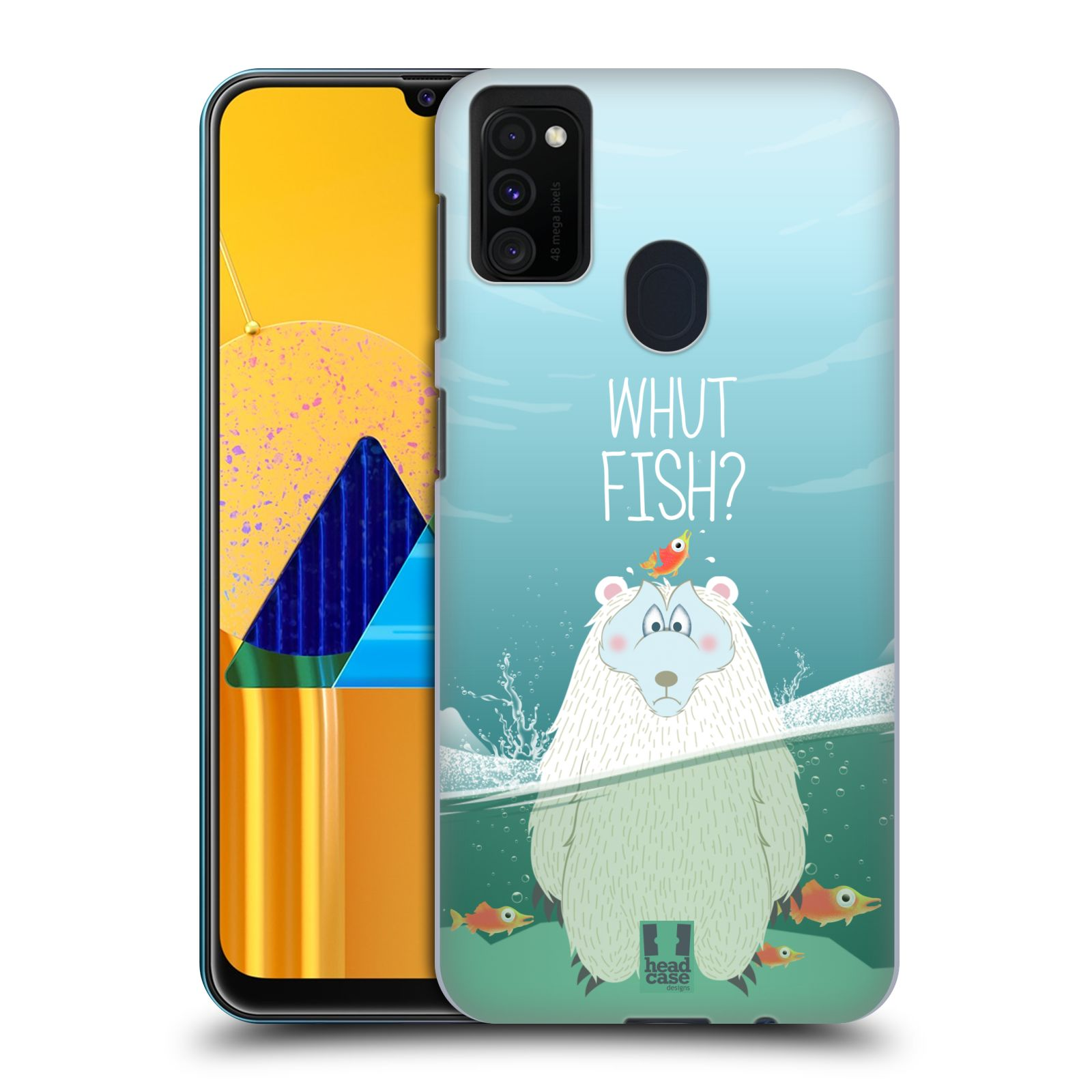 Plastové pouzdro na mobil Samsung Galaxy M21 - Head Case - Medvěd Whut Fish?