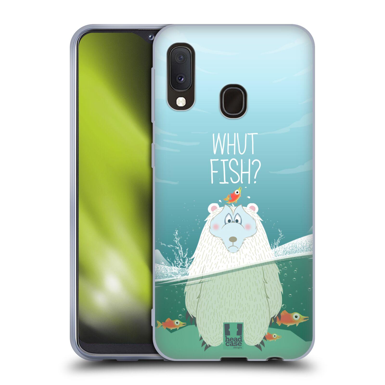 Silikonové pouzdro na mobil Samsung Galaxy A20e - Head Case - Medvěd Whut Fish?