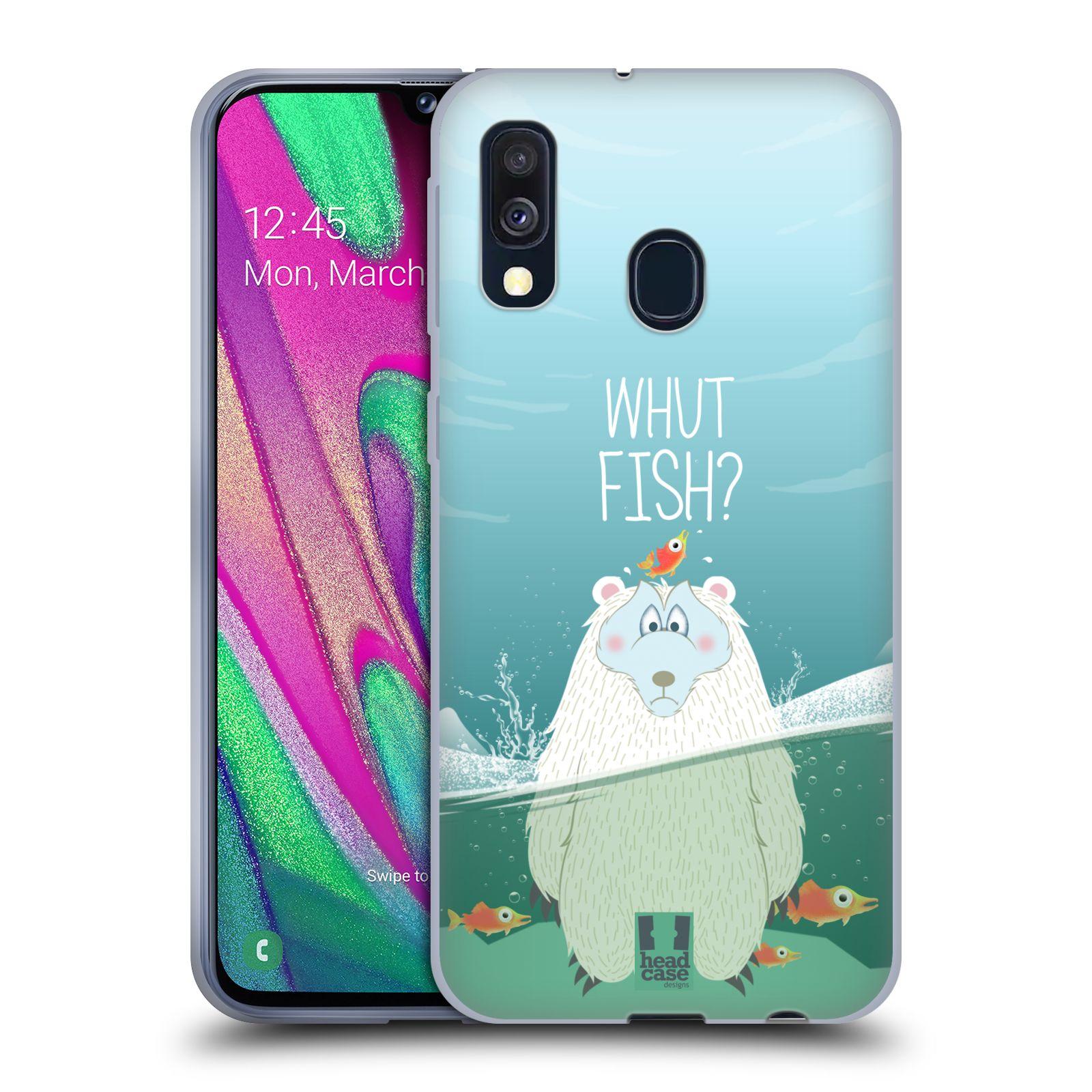 Silikonové pouzdro na mobil Samsung Galaxy A40 - Head Case - Medvěd Whut Fish?