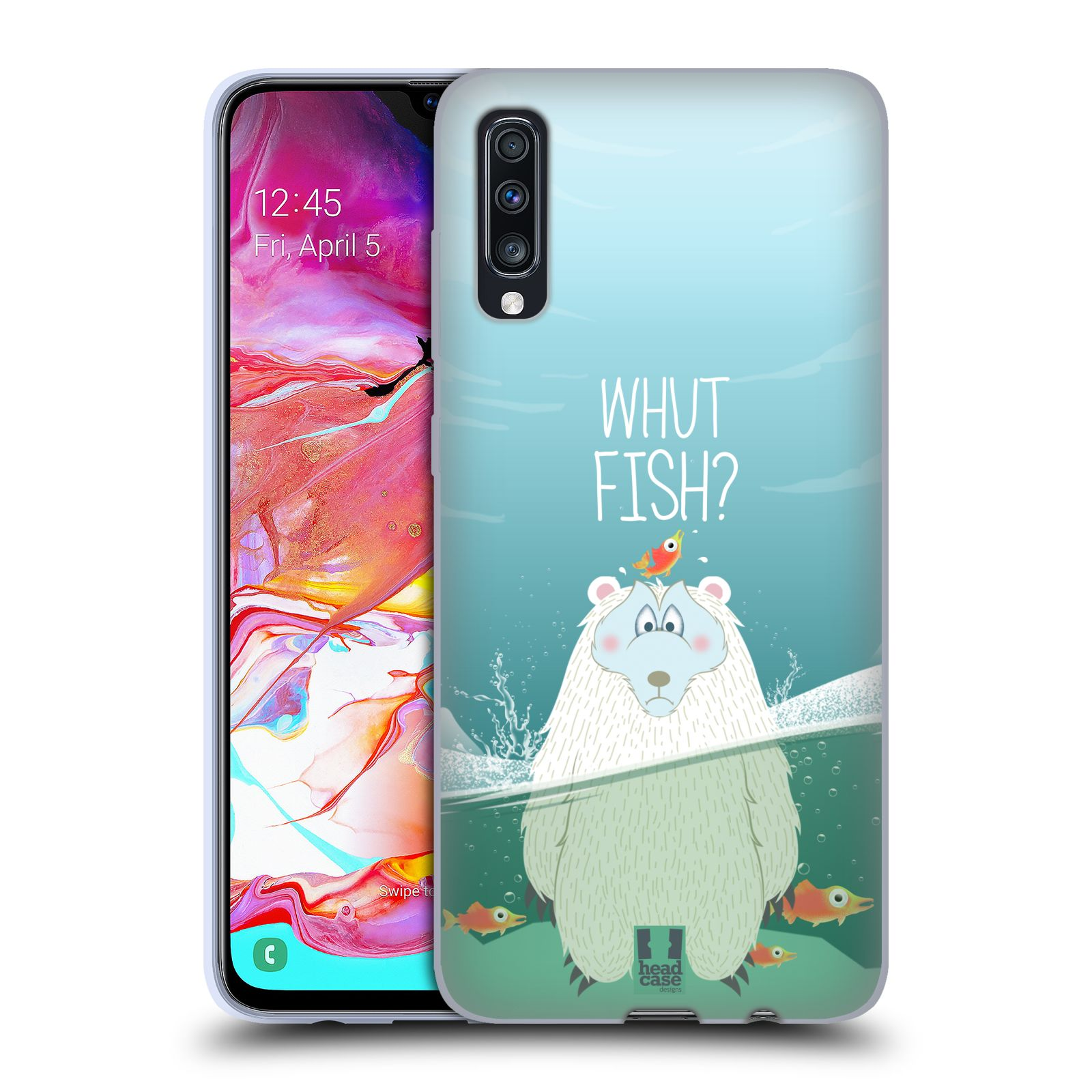 Silikonové pouzdro na mobil Samsung Galaxy A70 - Head Case - Medvěd Whut Fish?