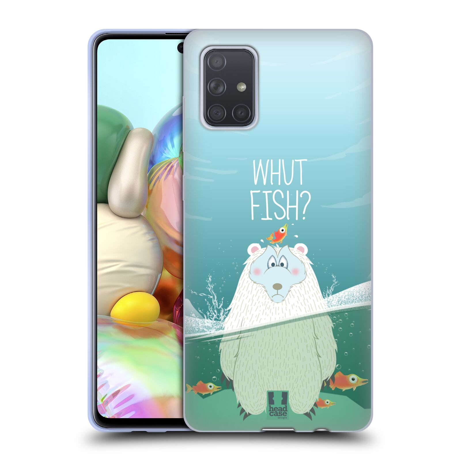 Silikonové pouzdro na mobil Samsung Galaxy A71 - Head Case - Medvěd Whut Fish?