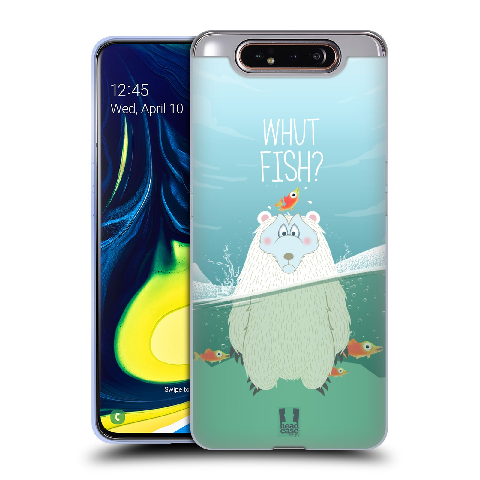 Silikonové pouzdro na mobil Samsung Galaxy A80 - Head Case - Medvěd Whut Fish?
