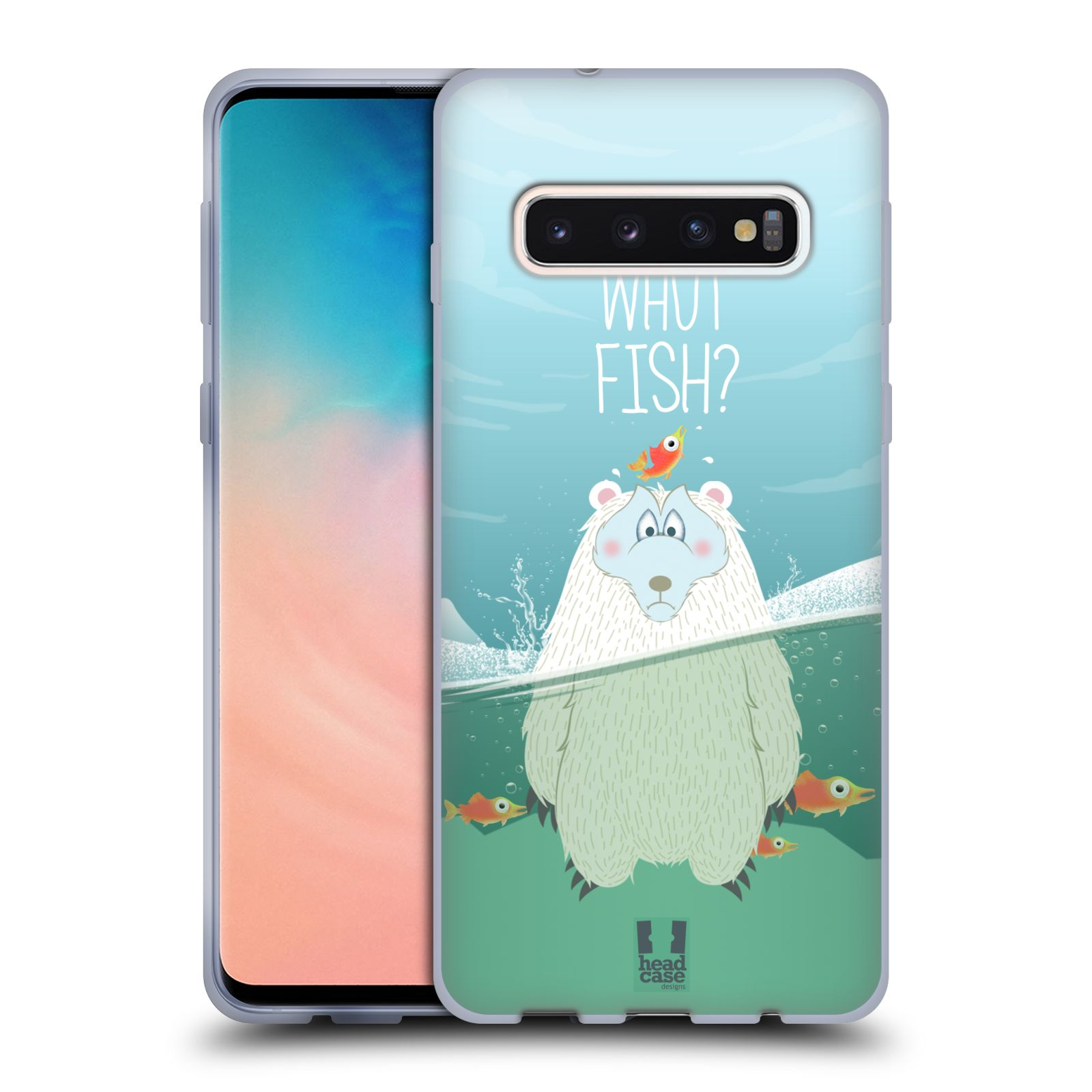 Silikonové pouzdro na mobil Samsung Galaxy S10 - Head Case - Medvěd Whut Fish?