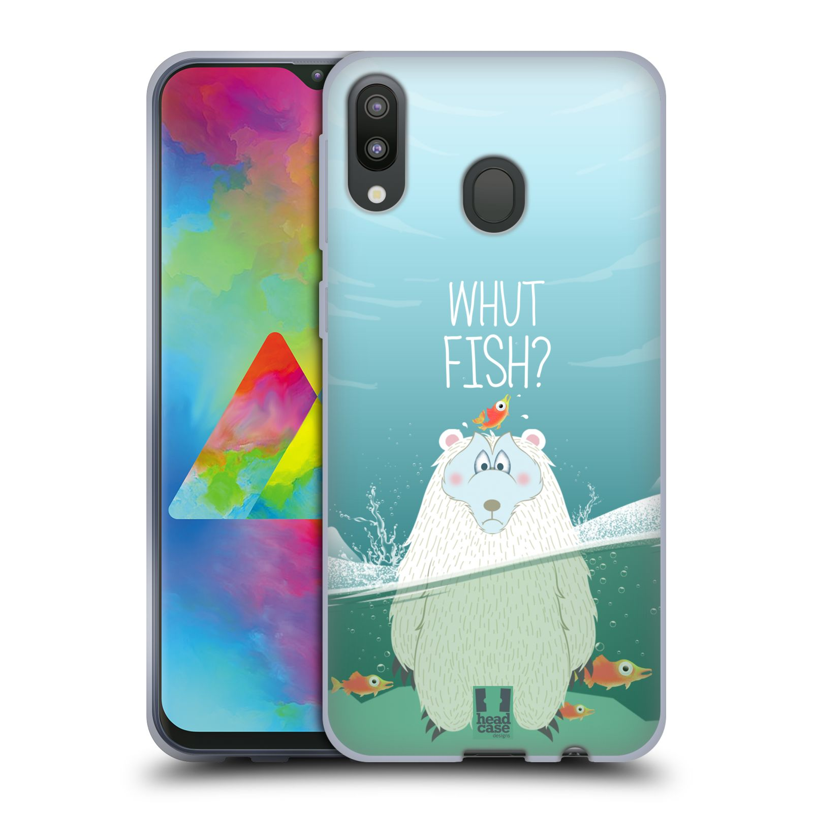Silikonové pouzdro na mobil Samsung Galaxy M20 - Head Case - Medvěd Whut Fish?