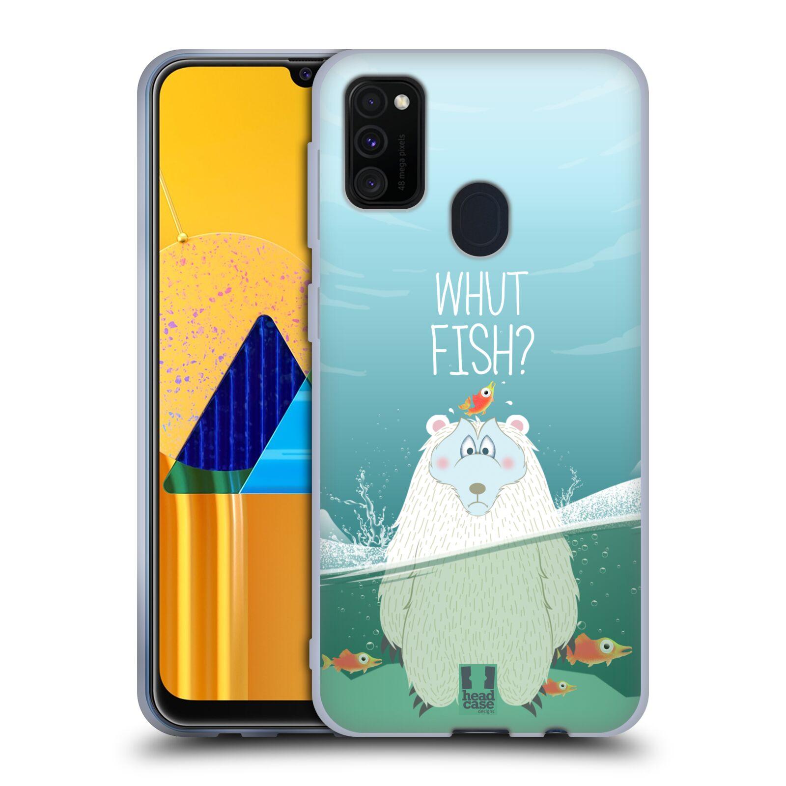 Silikonové pouzdro na mobil Samsung Galaxy M21 - Head Case - Medvěd Whut Fish?