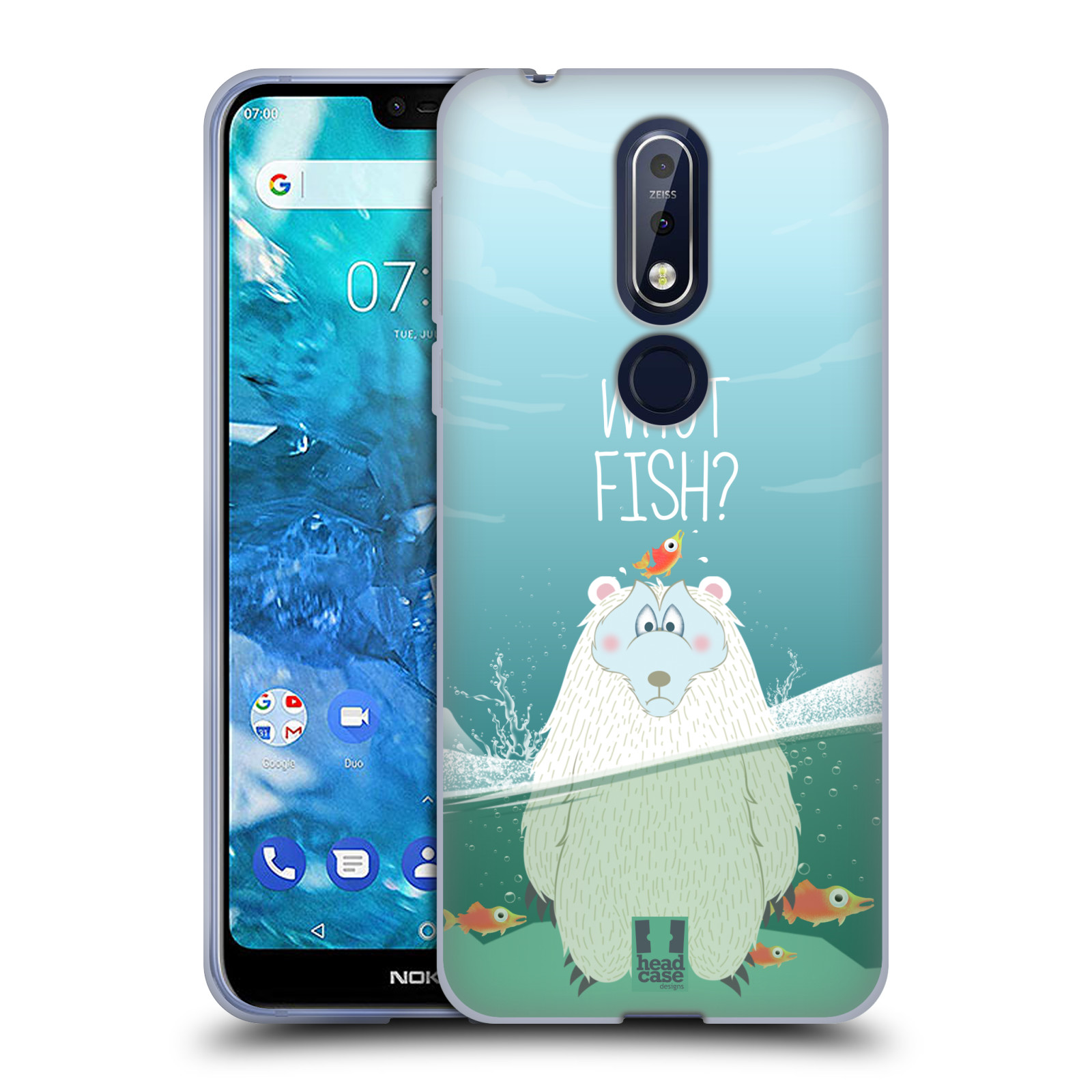 Silikonové pouzdro na mobil Nokia 7.1 - Head Case - Medvěd Whut Fish?