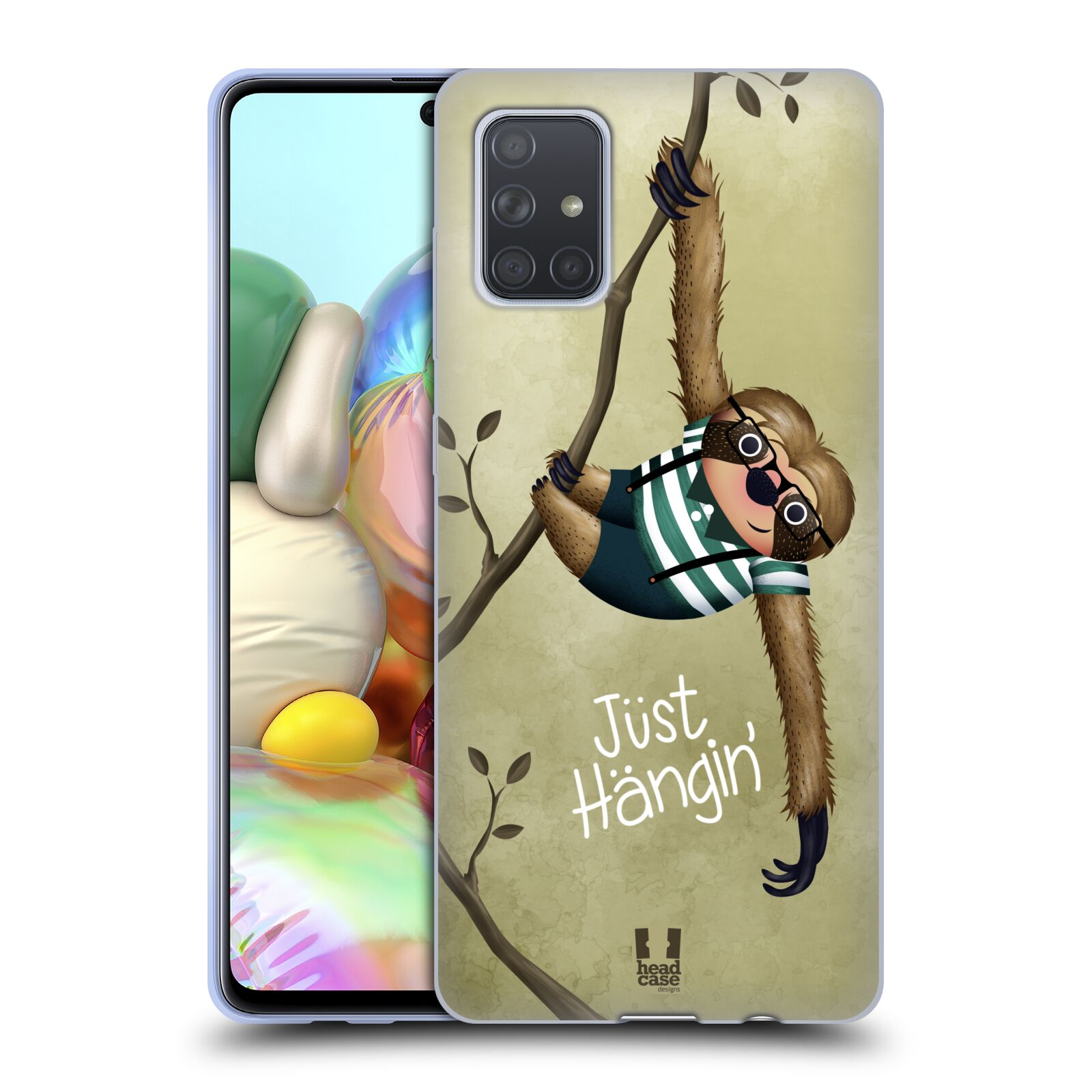 Silikonové pouzdro na mobil Samsung Galaxy A71 - Head Case - Lenochod Just Hangin