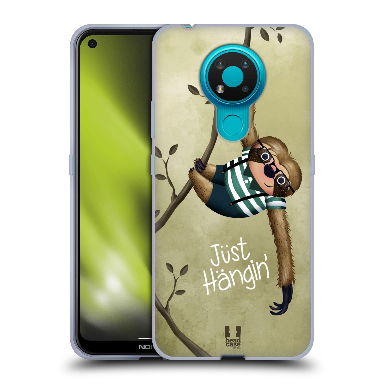 Silikonové pouzdro na mobil Nokia 3.4 - Head Case - Lenochod Just Hangin