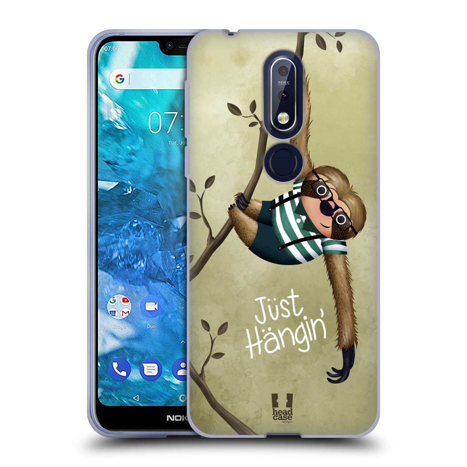 Silikonové pouzdro na mobil Nokia 7.1 - Head Case - Lenochod Just Hangin