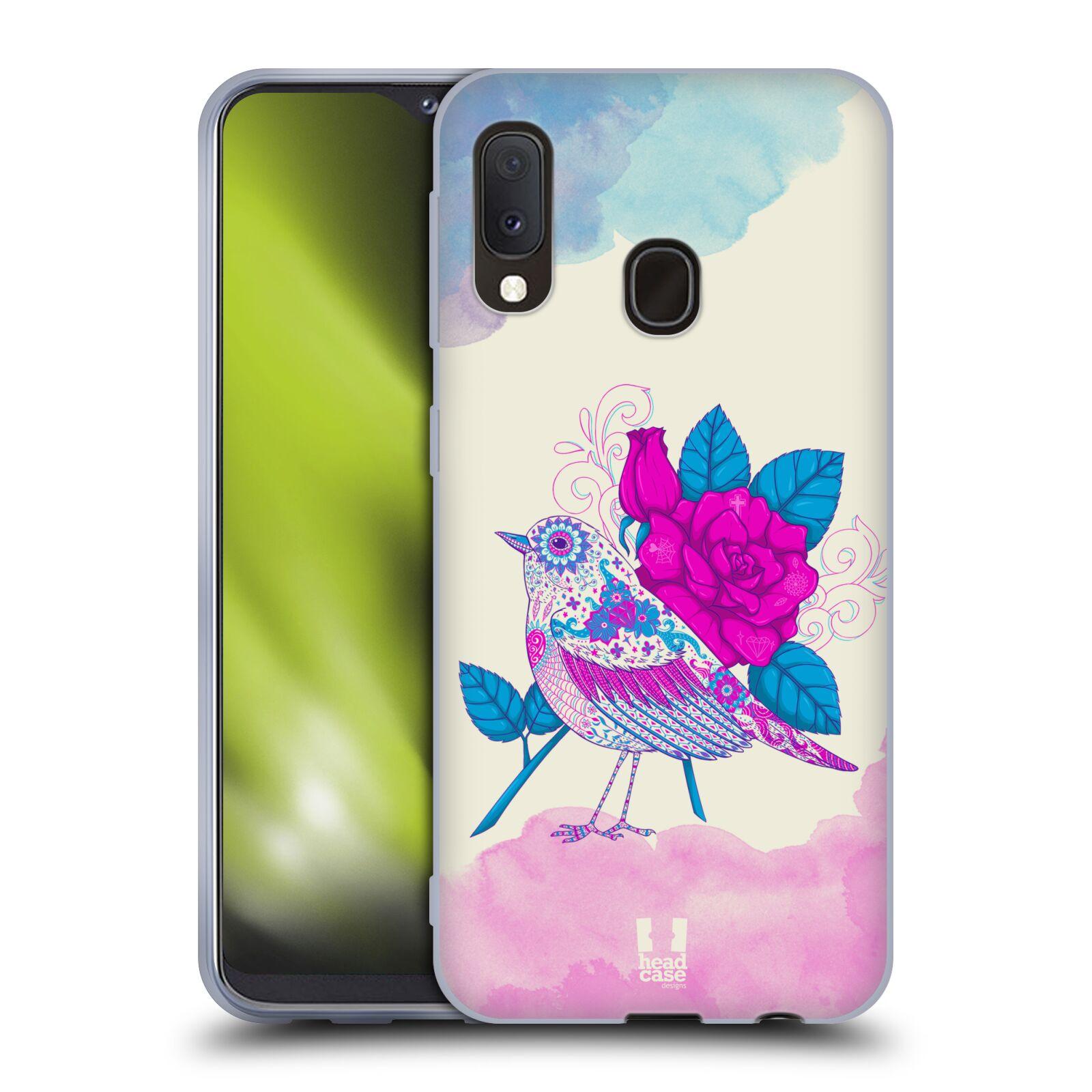 Silikonové pouzdro na mobil Samsung Galaxy A20e - Head Case - PTÁČEK FUCHSIA
