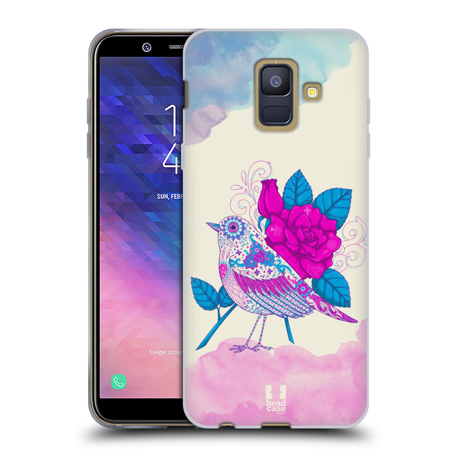 Silikonové pouzdro na mobil Samsung Galaxy A6 (2018) - Head Case - PTÁČEK FUCHSIA
