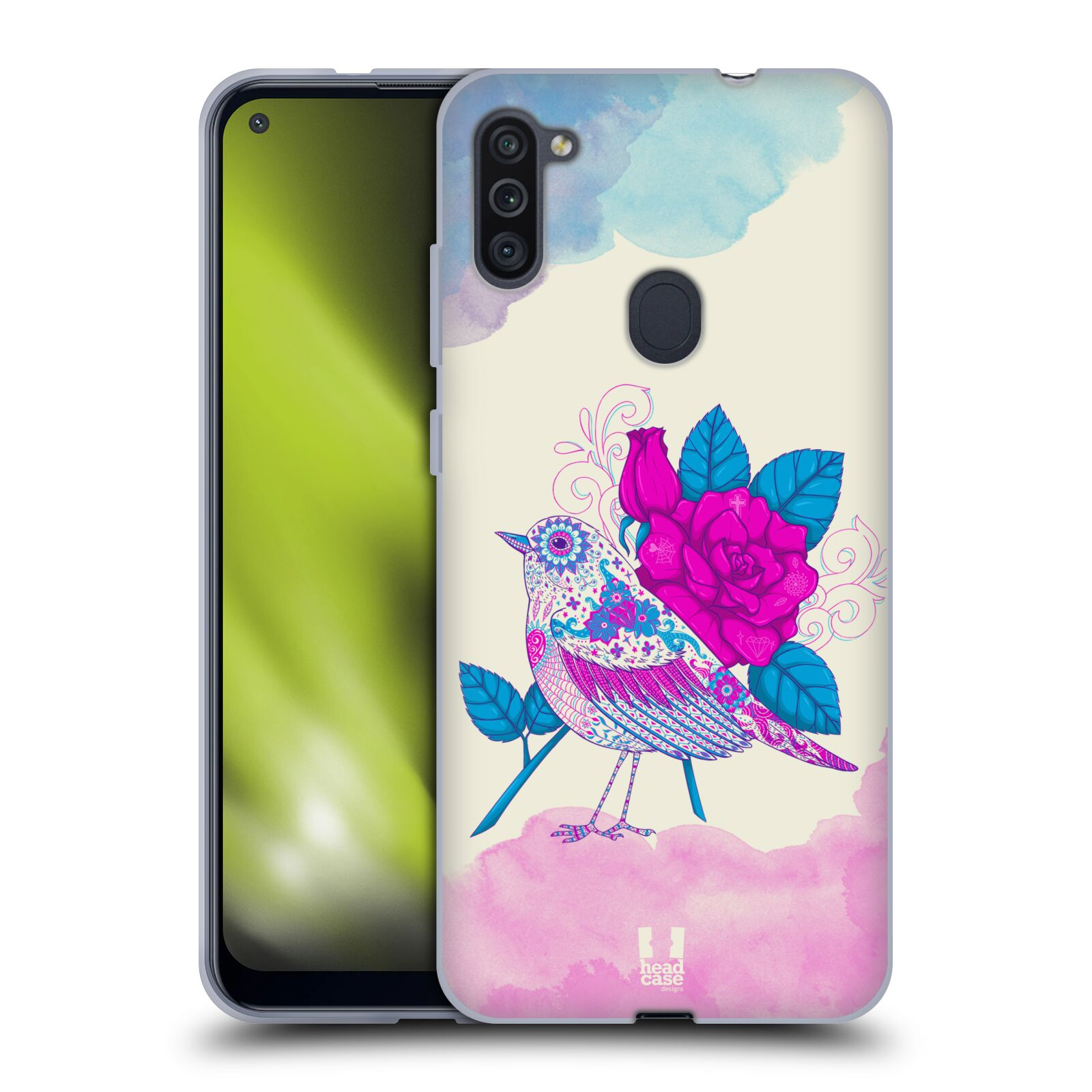 Silikonové pouzdro na mobil Samsung Galaxy M11 - Head Case - PTÁČEK FUCHSIA