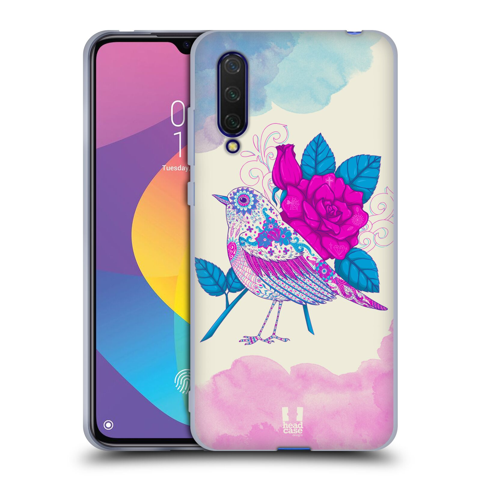 Silikonové pouzdro na mobil Xiaomi Mi 9 Lite - Head Case - PTÁČEK FUCHSIA