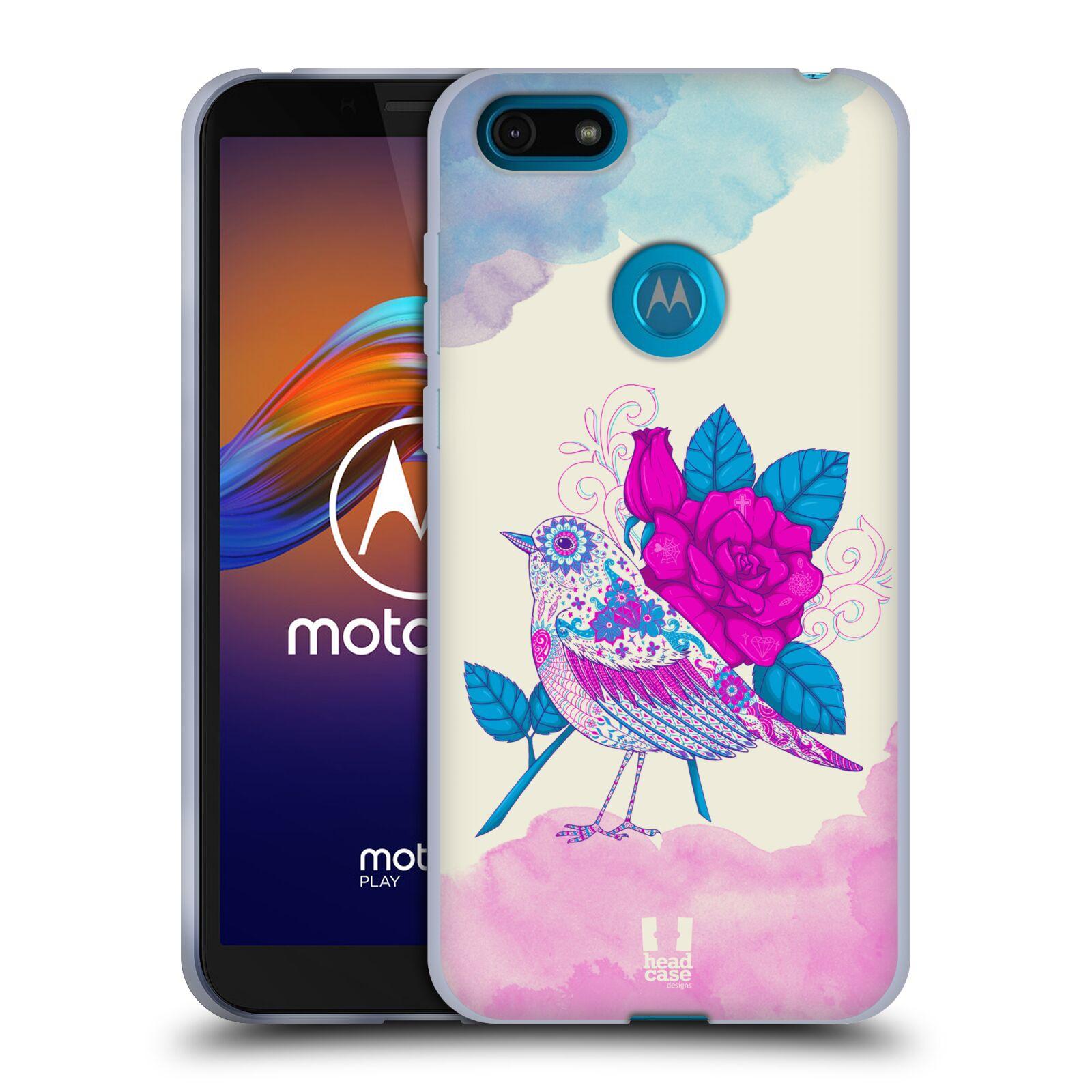 Silikonové pouzdro na mobil Motorola Moto E6 Play - Head Case - PTÁČEK FUCHSIA