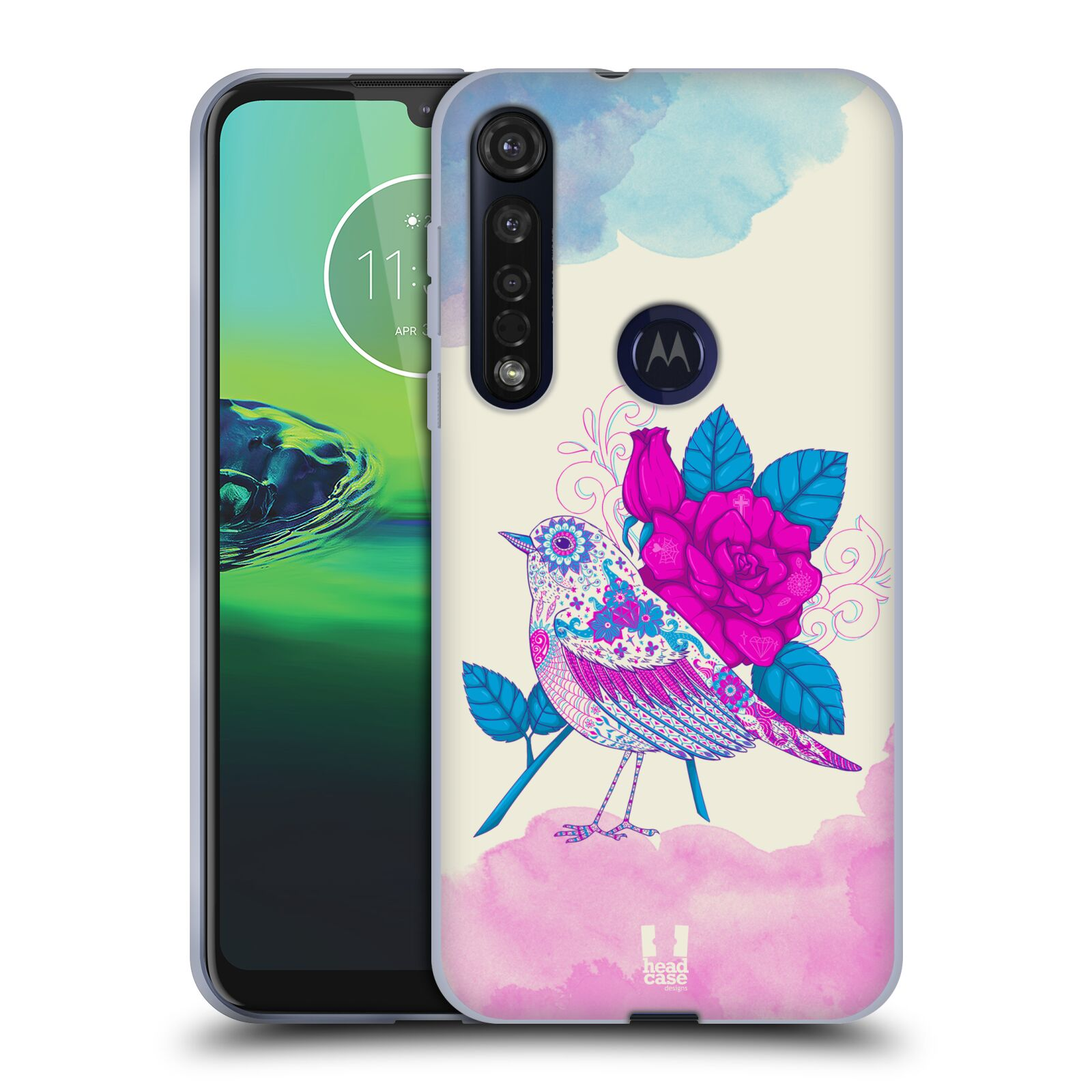 Silikonové pouzdro na mobil Motorola Moto G8 Plus - Head Case - PTÁČEK FUCHSIA