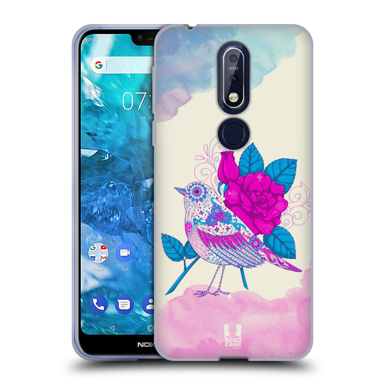 Silikonové pouzdro na mobil Nokia 7.1 - Head Case - PTÁČEK FUCHSIA