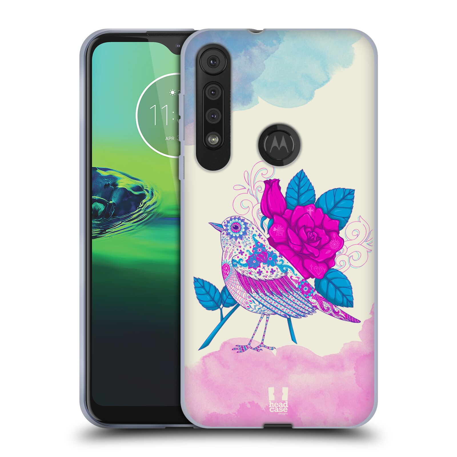 Silikonové pouzdro na mobil Motorola One Macro - Head Case - PTÁČEK FUCHSIA