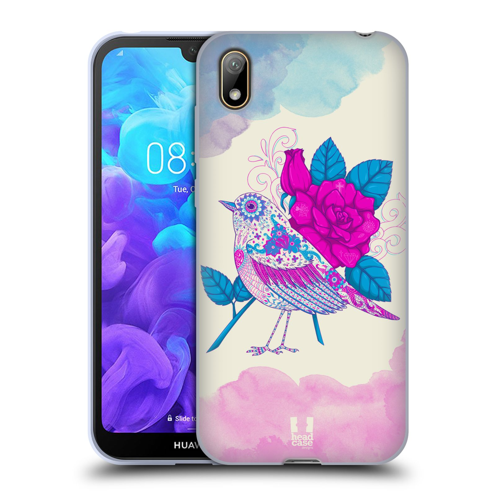 Silikonové pouzdro na mobil Huawei Y5 (2019) - Head Case - PTÁČEK FUCHSIA