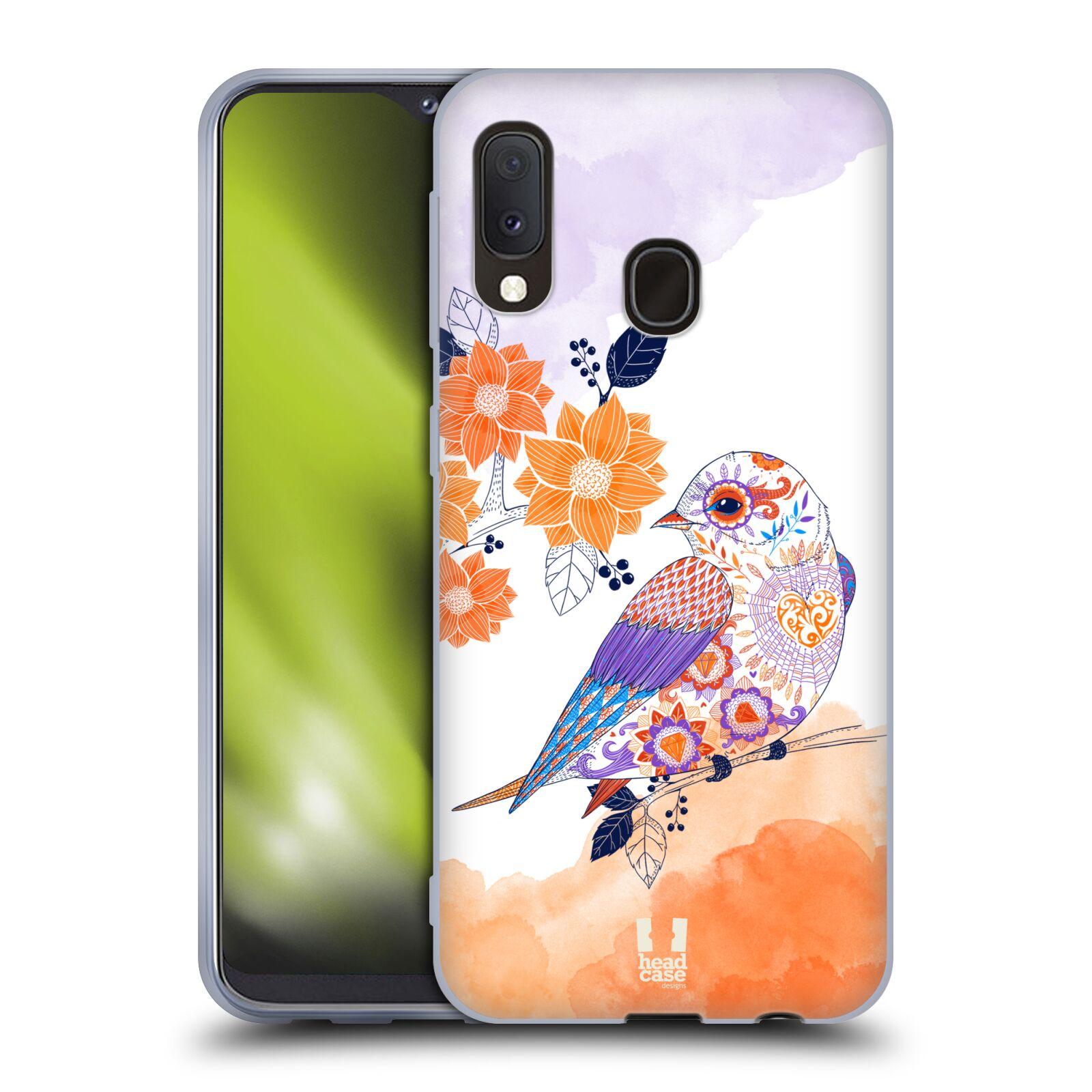 Silikonové pouzdro na mobil Samsung Galaxy A20e - Head Case - PTÁČEK TANGERINE