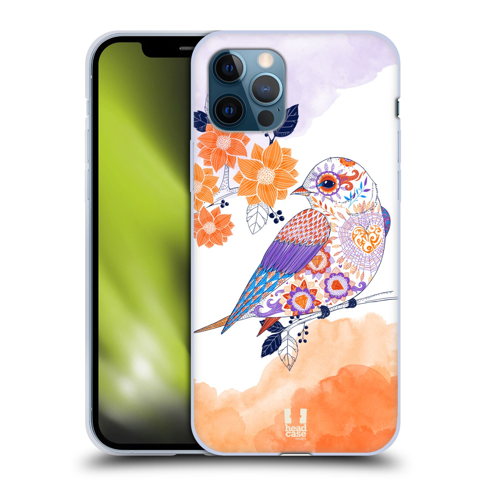 Silikonové pouzdro na mobil Apple iPhone 12 / 12 Pro - Head Case - PTÁČEK TANGERINE