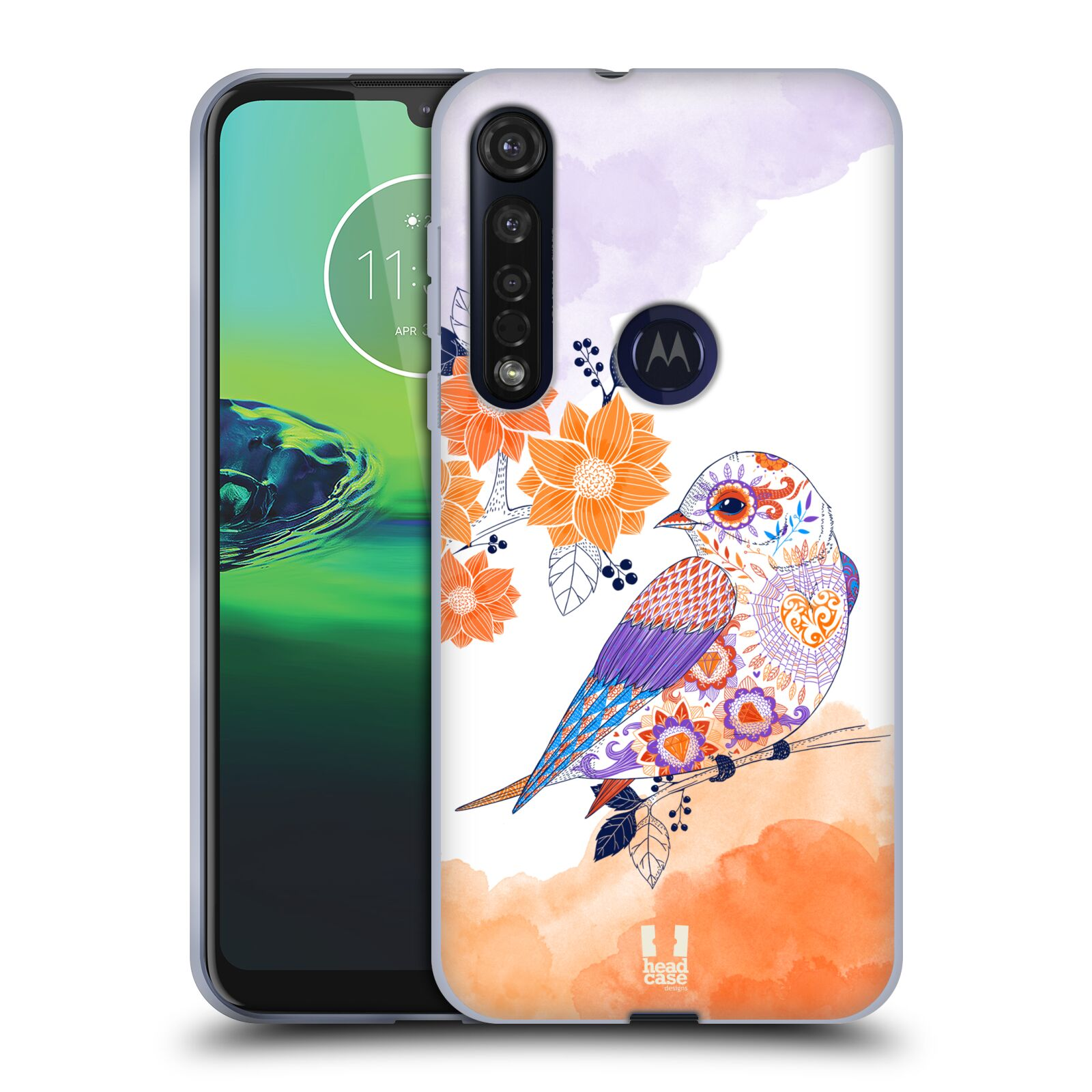 Silikonové pouzdro na mobil Motorola Moto G8 Plus - Head Case - PTÁČEK TANGERINE