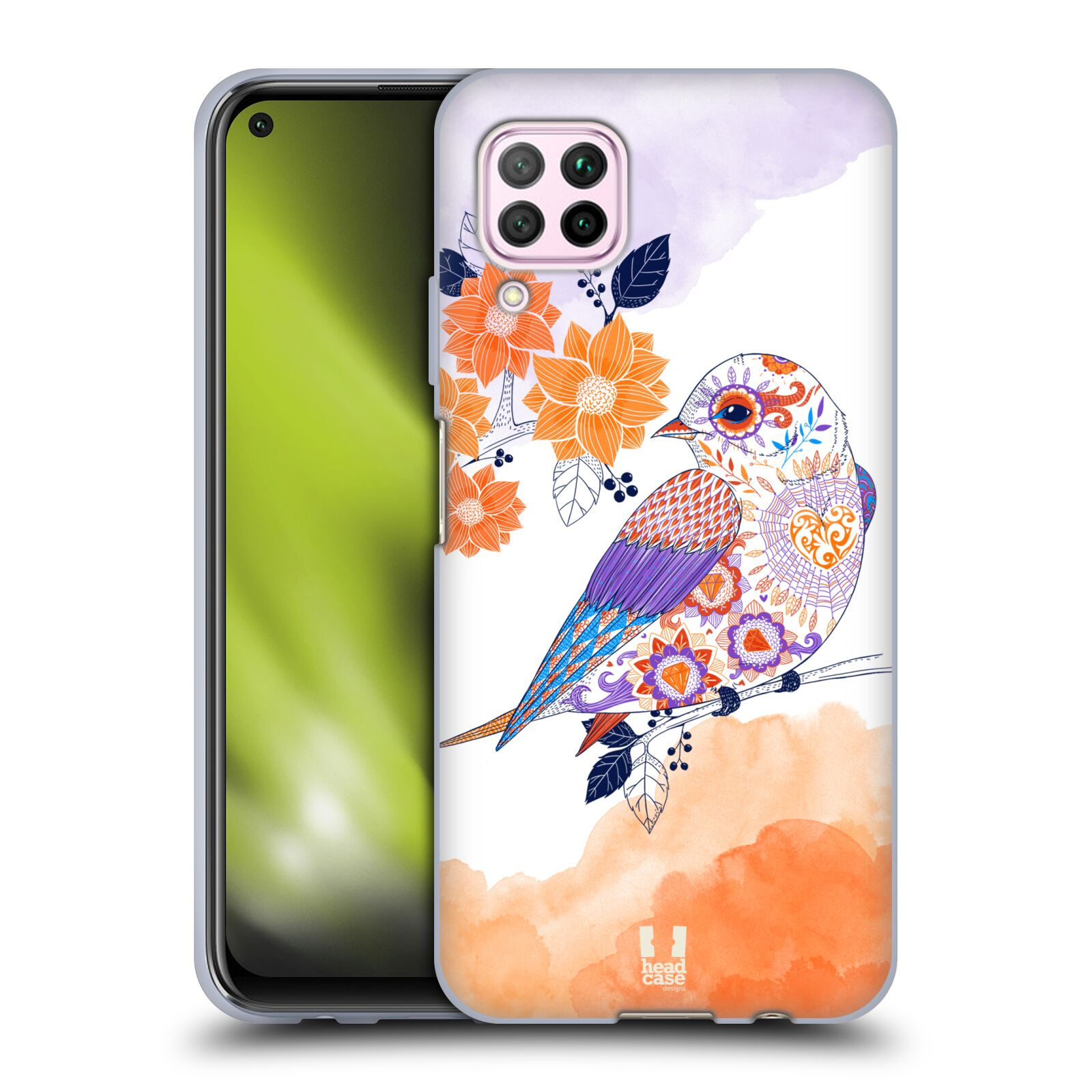 Silikonové pouzdro na mobil Huawei P40 Lite - Head Case - PTÁČEK TANGERINE