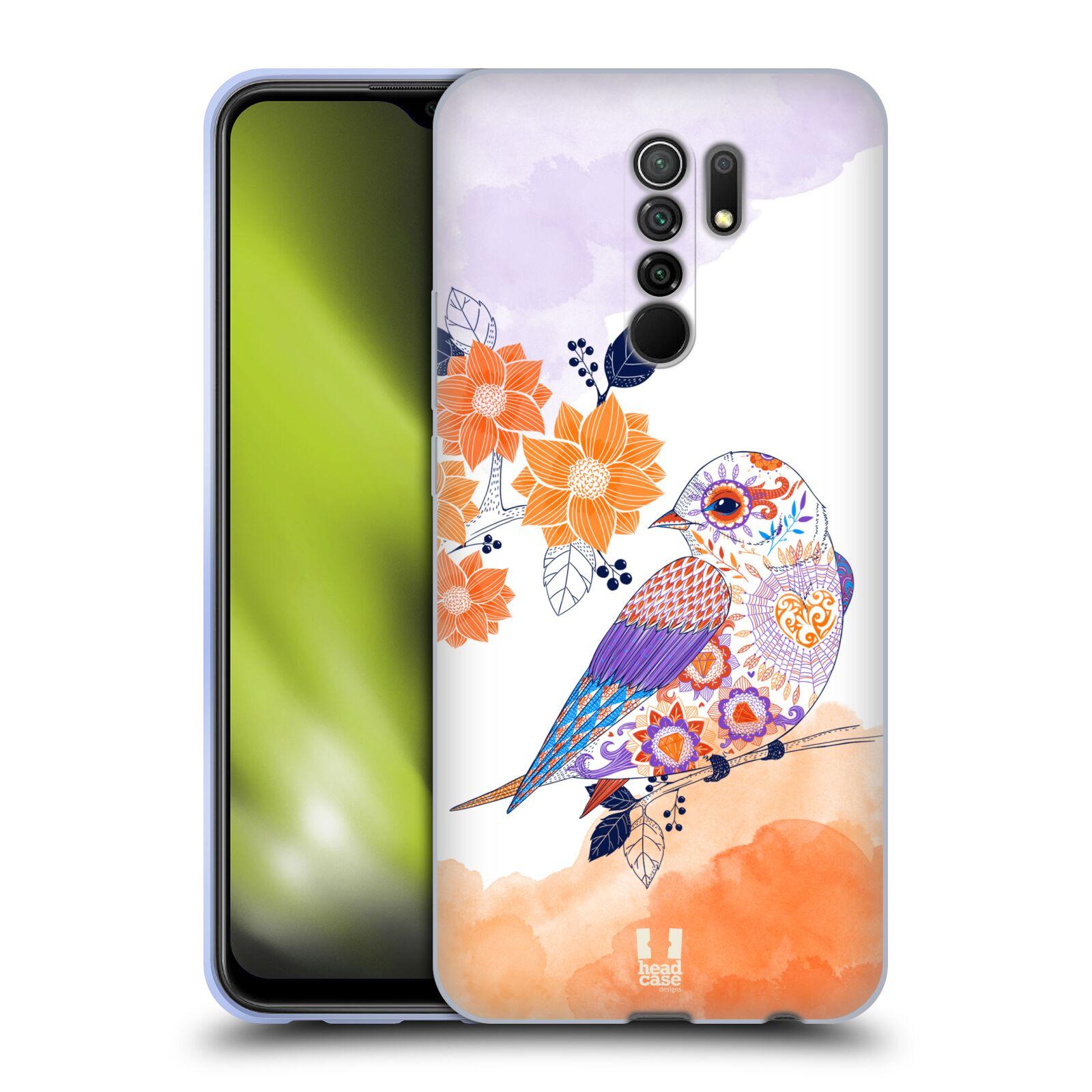 Silikonové pouzdro na mobil Xiaomi Redmi 9 - Head Case - PTÁČEK TANGERINE