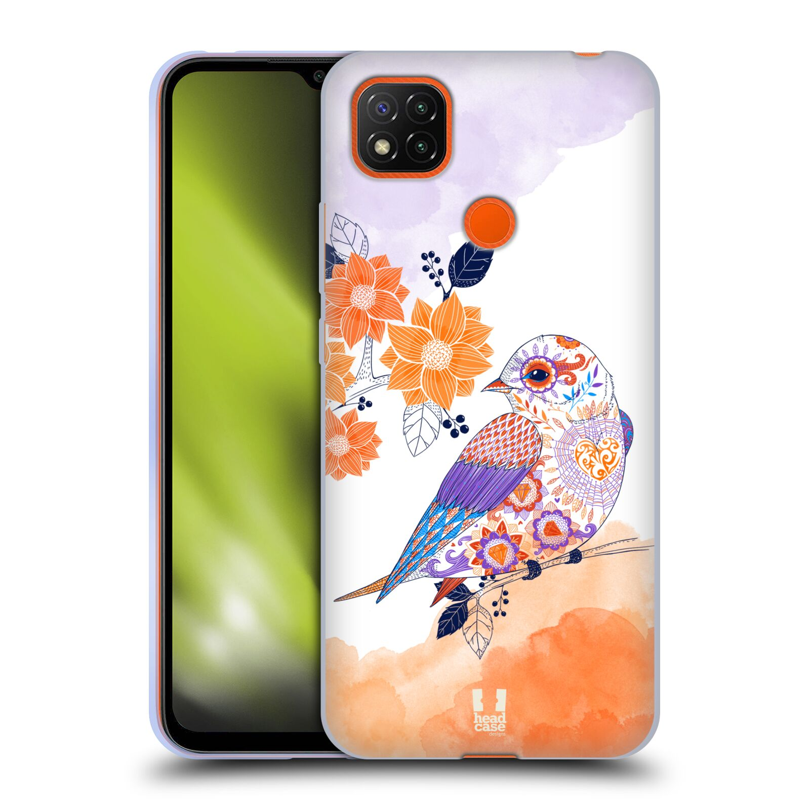 Silikonové pouzdro na mobil Xiaomi Redmi 9C - Head Case - PTÁČEK TANGERINE