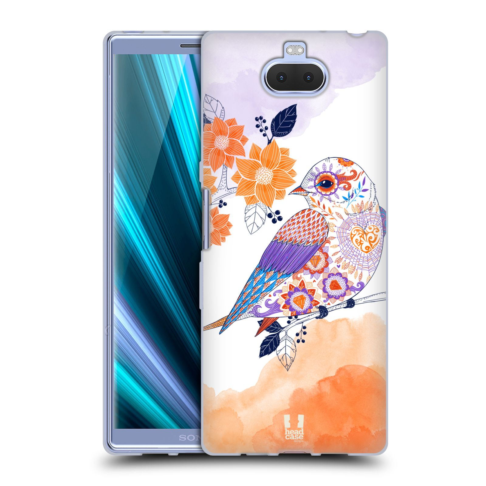 Silikonové pouzdro na mobil Sony Xperia 10 Plus - Head Case - PTÁČEK TANGERINE