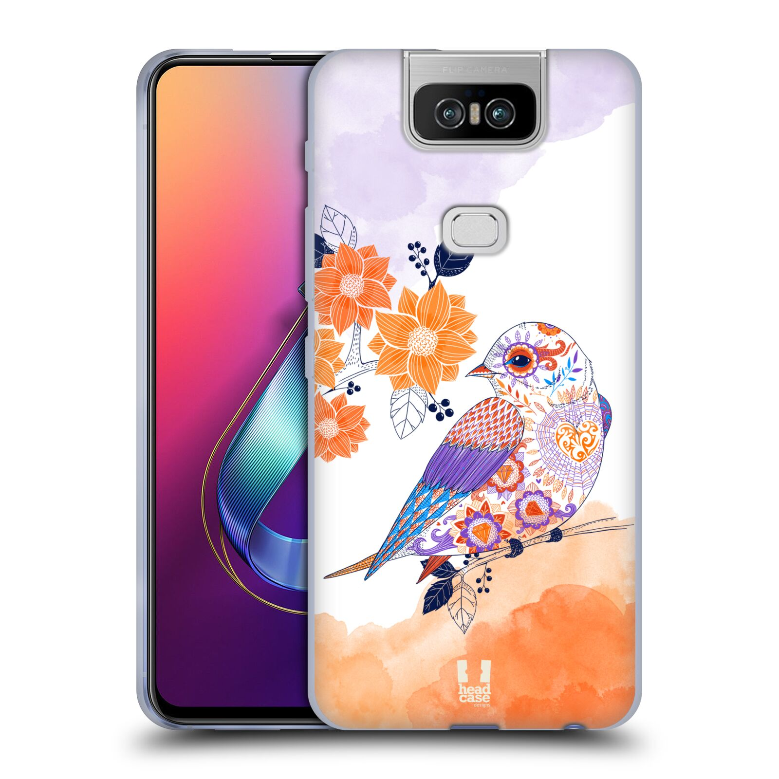 Silikonové pouzdro na mobil Asus Zenfone 6 ZS630KL - Head Case - PTÁČEK TANGERINE