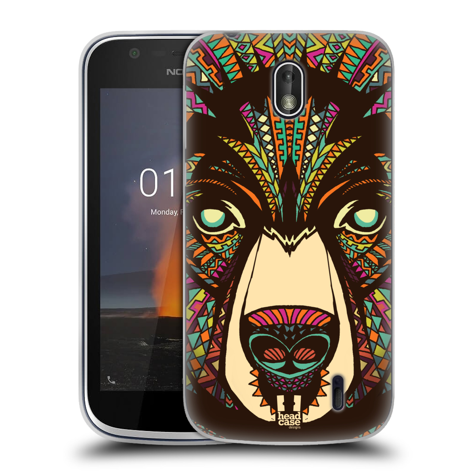 Silikonové pouzdro na mobil Nokia 1 - Head Case - AZTEC MEDVĚD