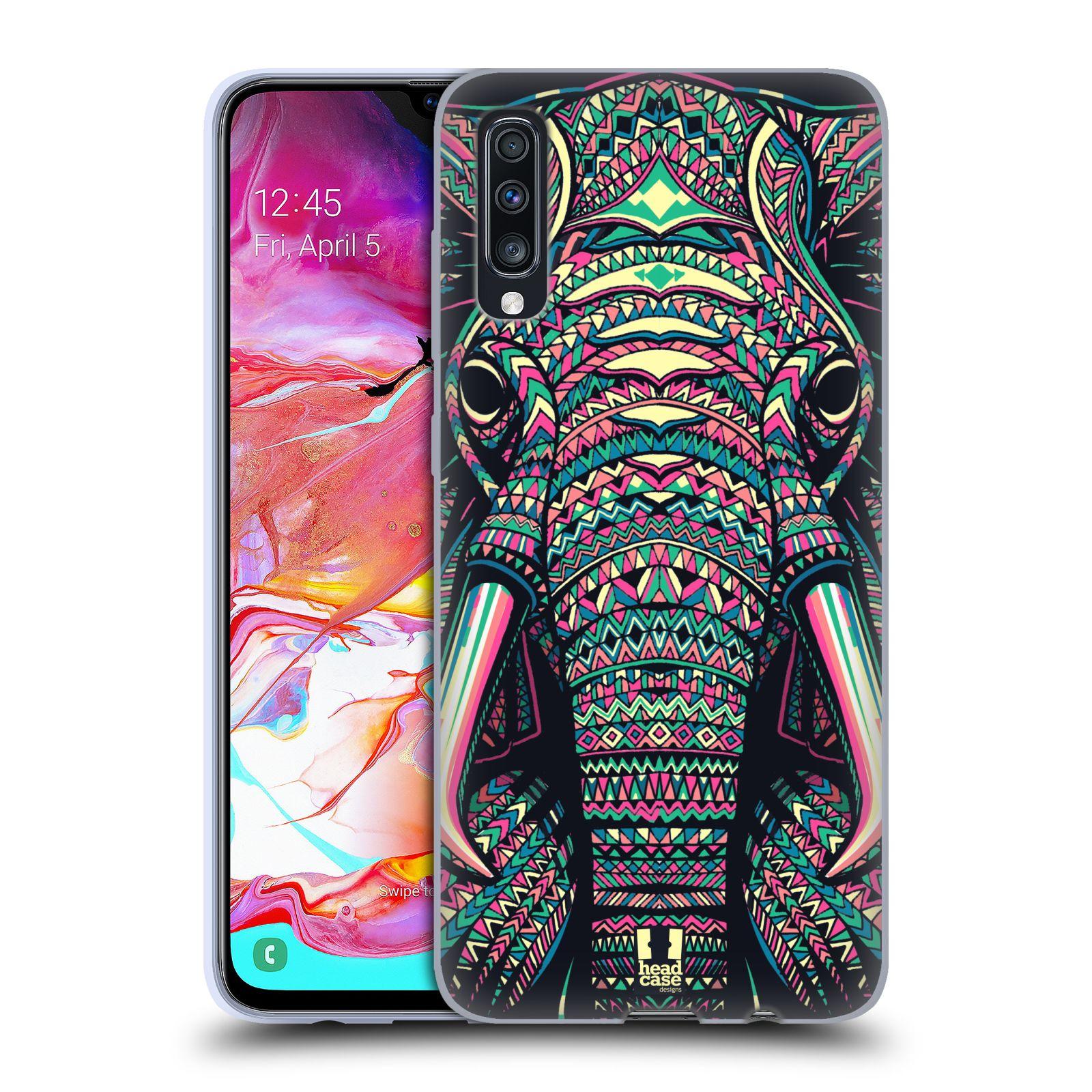 Silikonové pouzdro na mobil Samsung Galaxy A70 - Head Case - AZTEC SLON