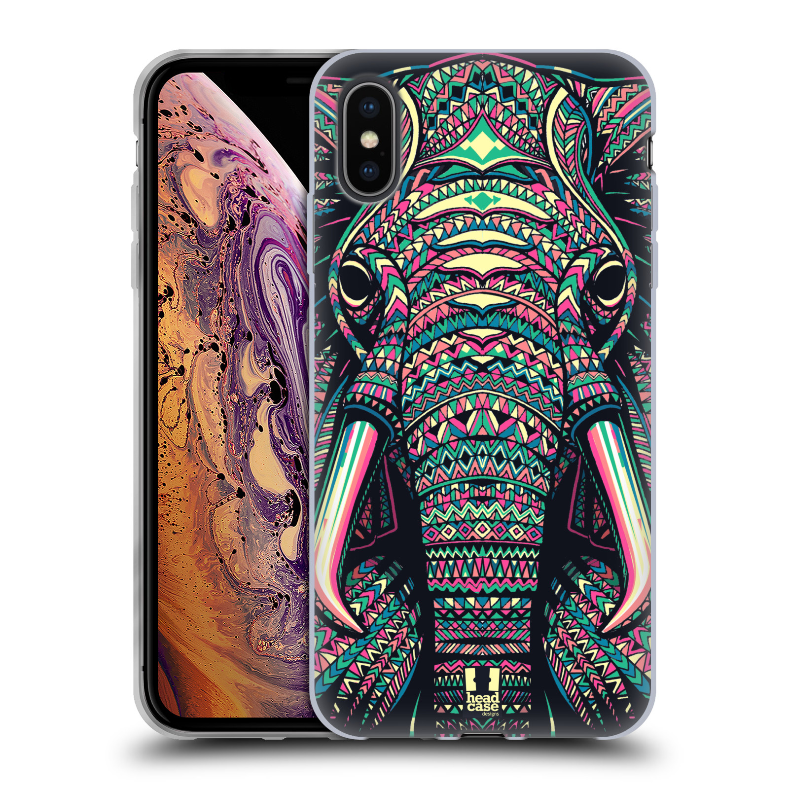 Silikonové pouzdro na mobil Apple iPhone XS Max - Head Case - AZTEC SLON